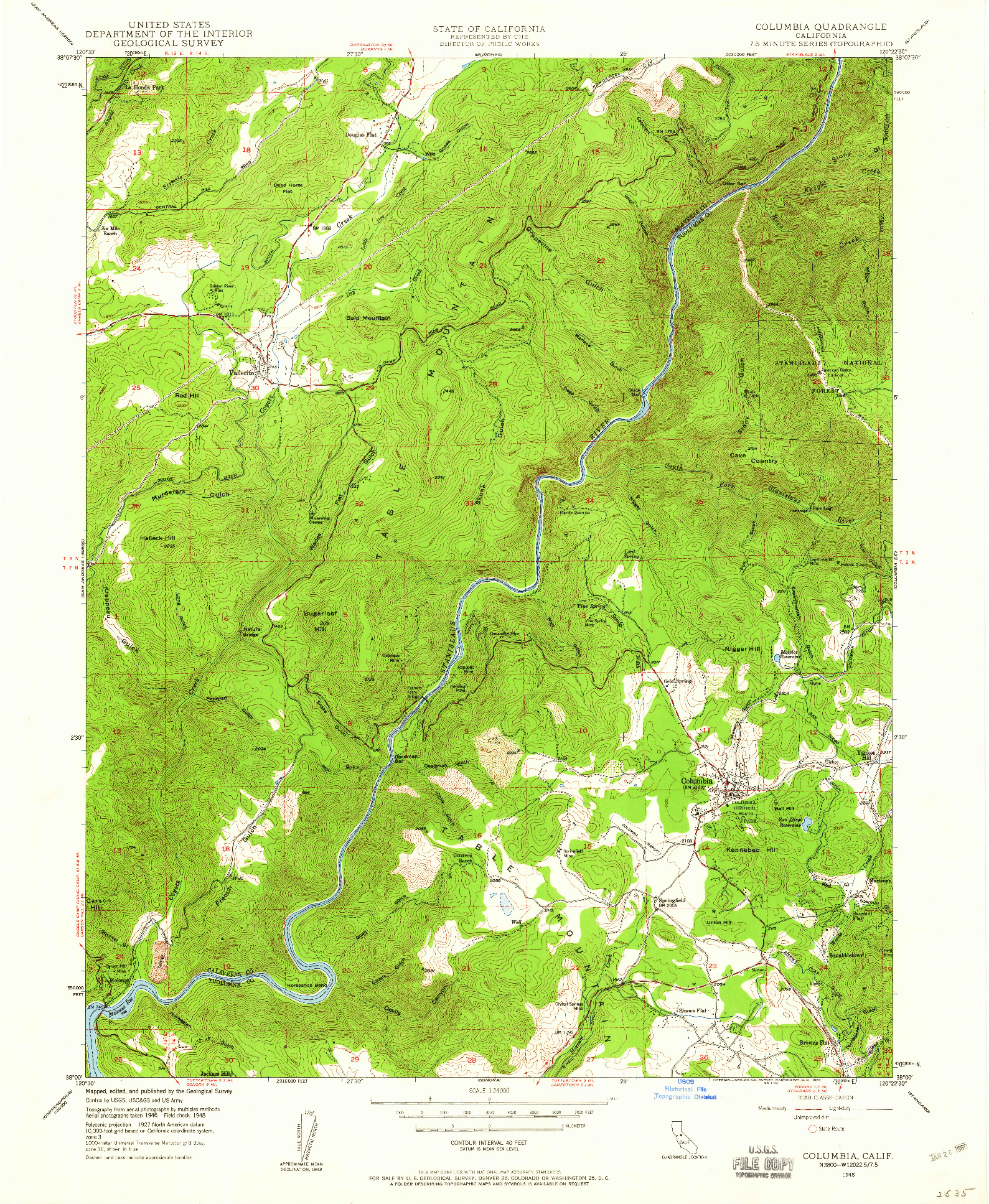 USGS 1:24000-SCALE QUADRANGLE FOR COLUMBIA, CA 1948