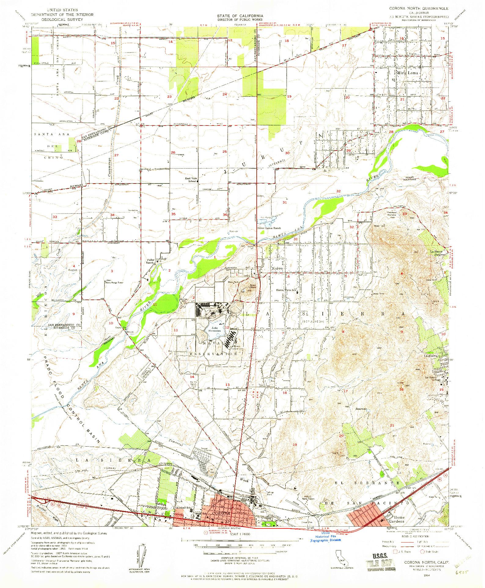 USGS 1:24000-SCALE QUADRANGLE FOR CORONA NORTH, CA 1954