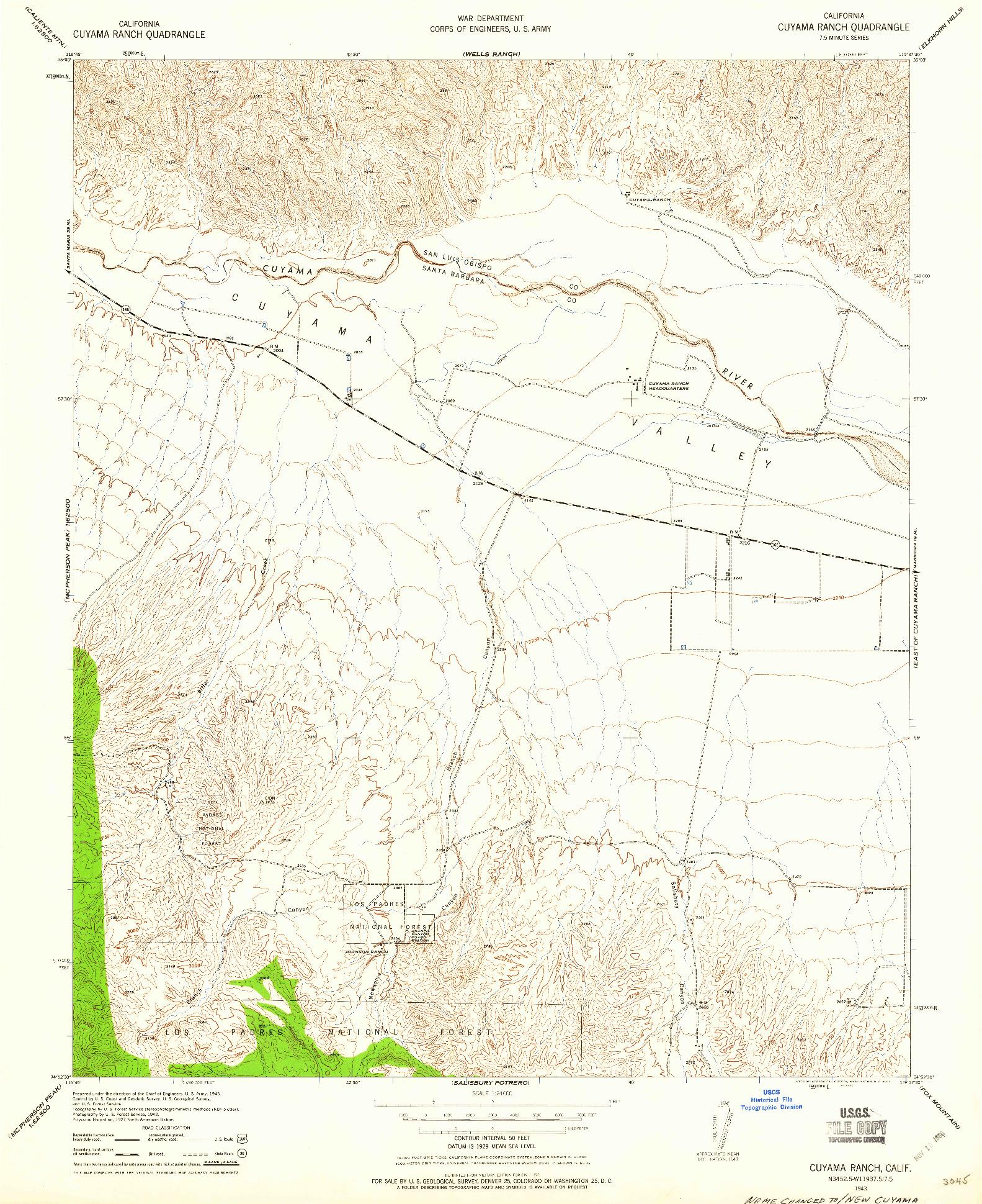 USGS 1:24000-SCALE QUADRANGLE FOR CUYAMA RANCH, CA 1943