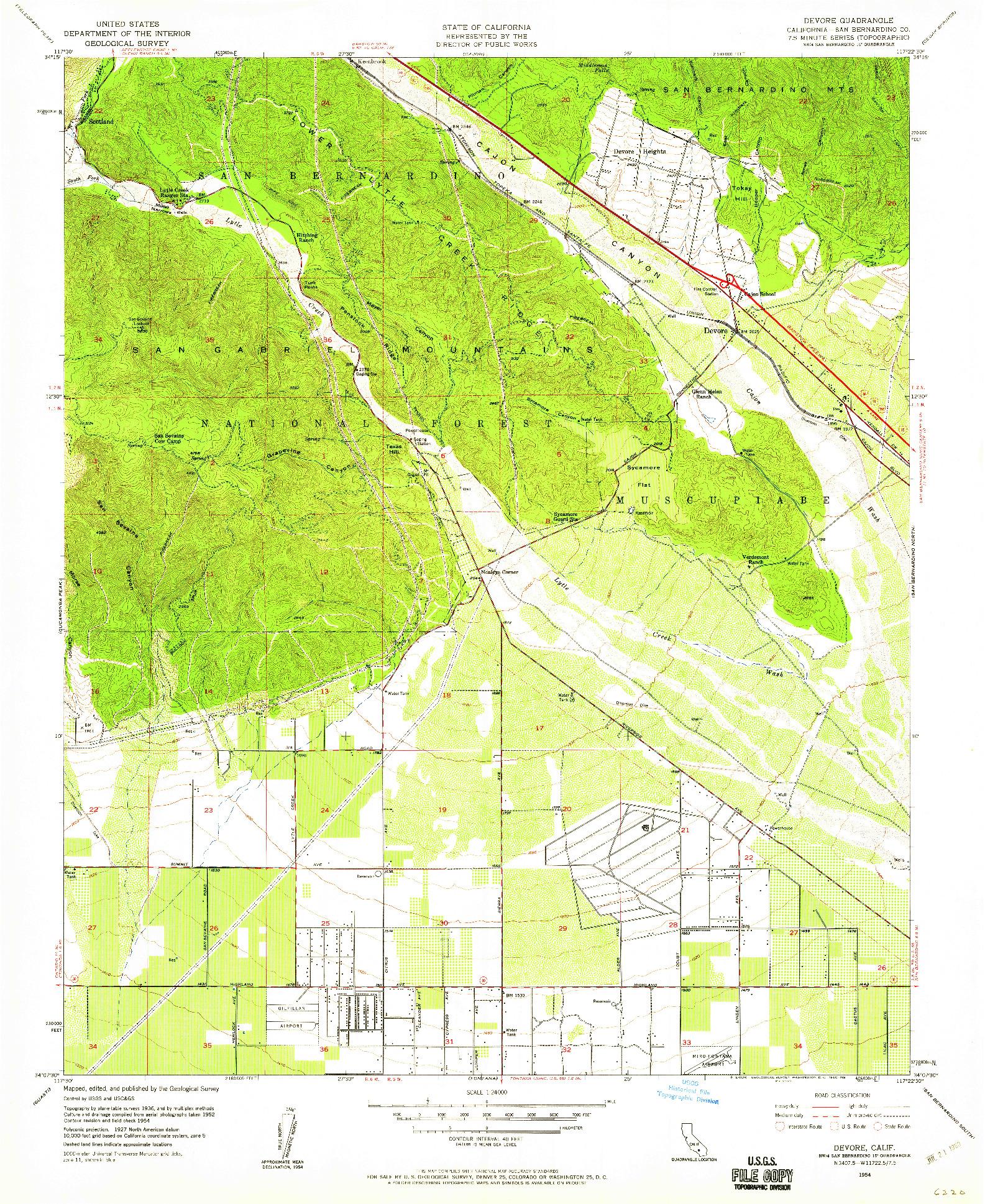 USGS 1:24000-SCALE QUADRANGLE FOR DEVORE, CA 1954