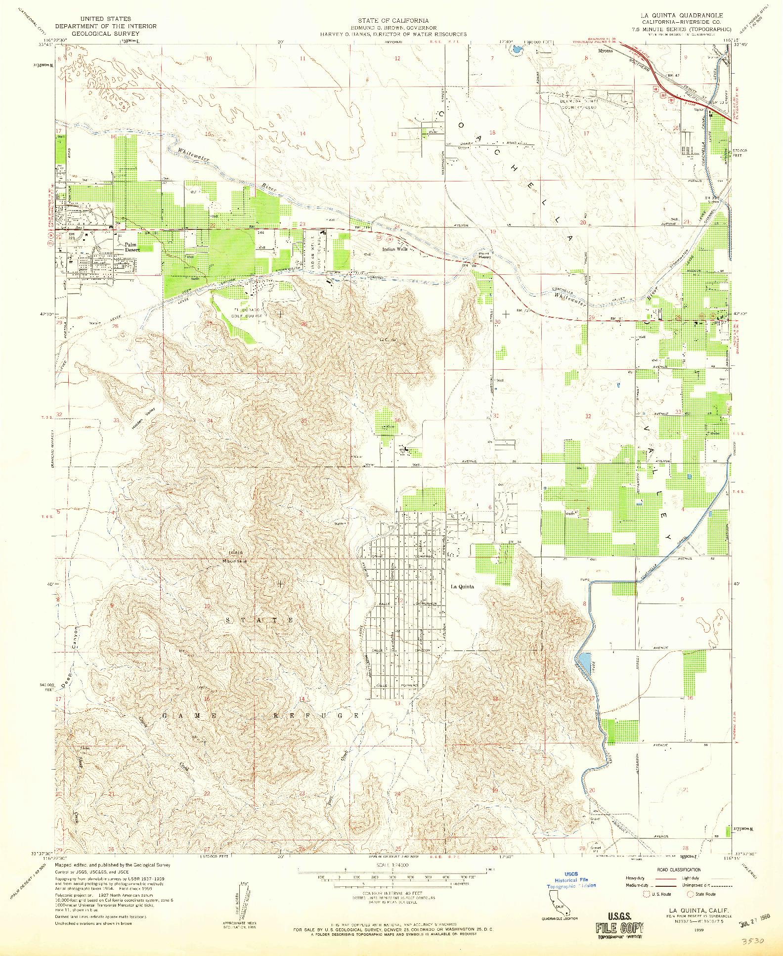 USGS 1:24000-SCALE QUADRANGLE FOR LA QUINTA, CA 1959