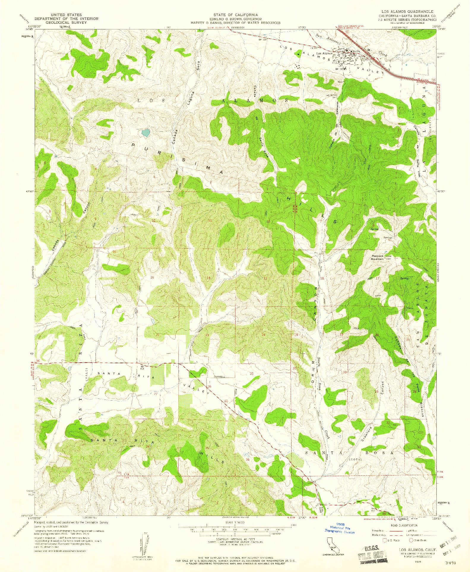 USGS 1:24000-SCALE QUADRANGLE FOR LOS ALAMOS, CA 1959