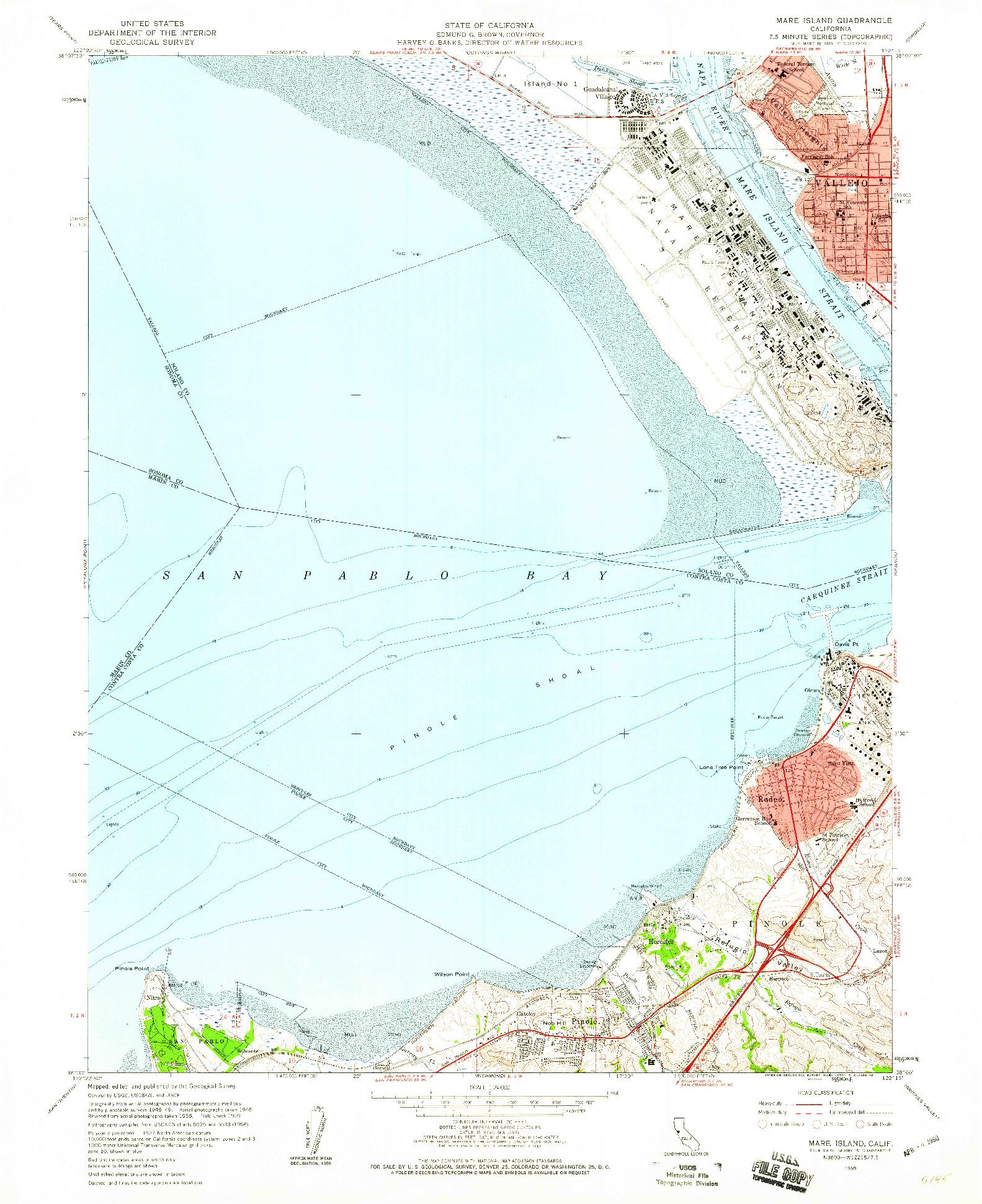 USGS 1:24000-SCALE QUADRANGLE FOR MARE ISLAND, CA 1959