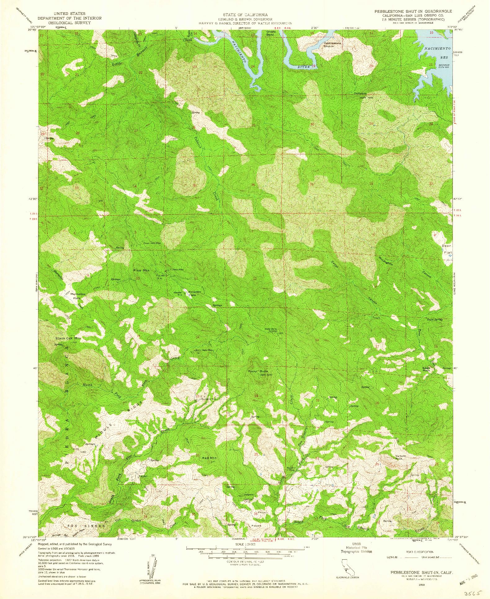USGS 1:24000-SCALE QUADRANGLE FOR PEBBLESTONE SHUT-IN, CA 1959