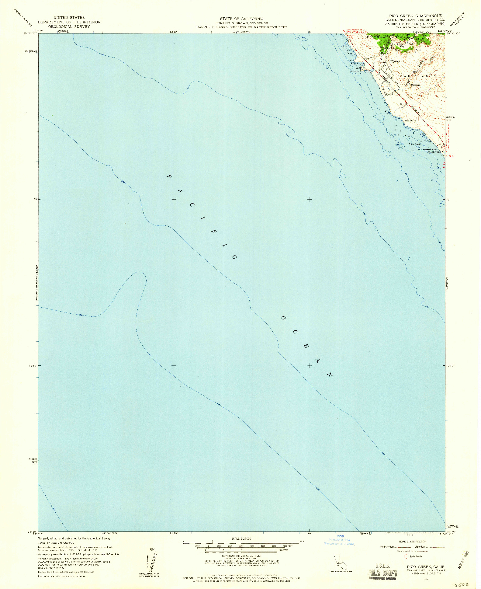 USGS 1:24000-SCALE QUADRANGLE FOR PICO CREEK, CA 1959