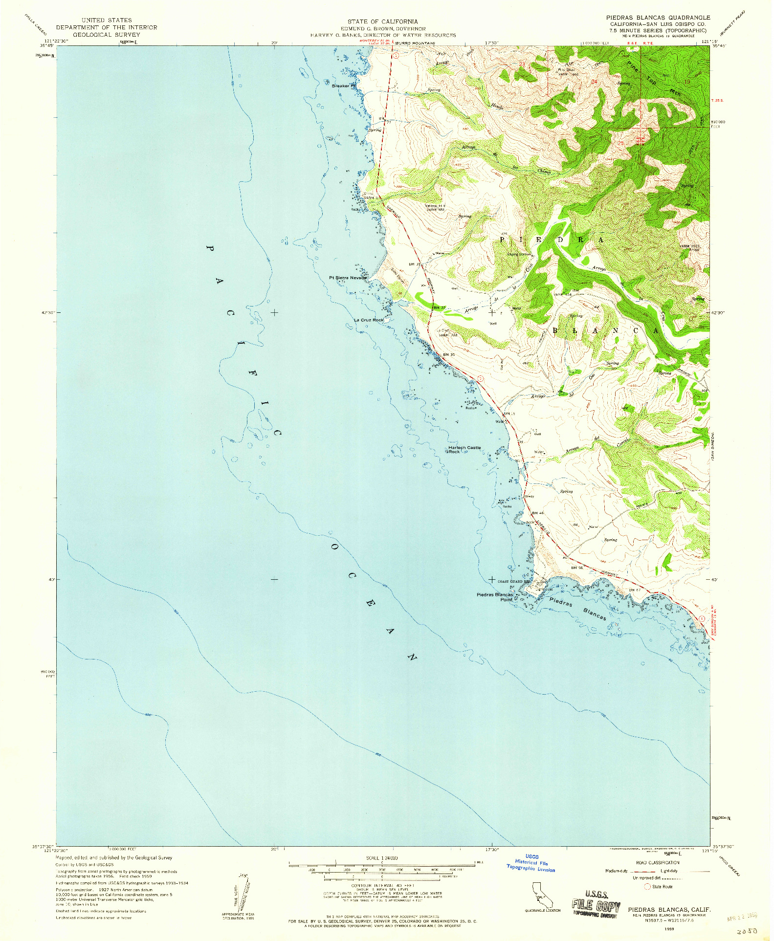 USGS 1:24000-SCALE QUADRANGLE FOR PIEDRAS BLANCAS, CA 1959