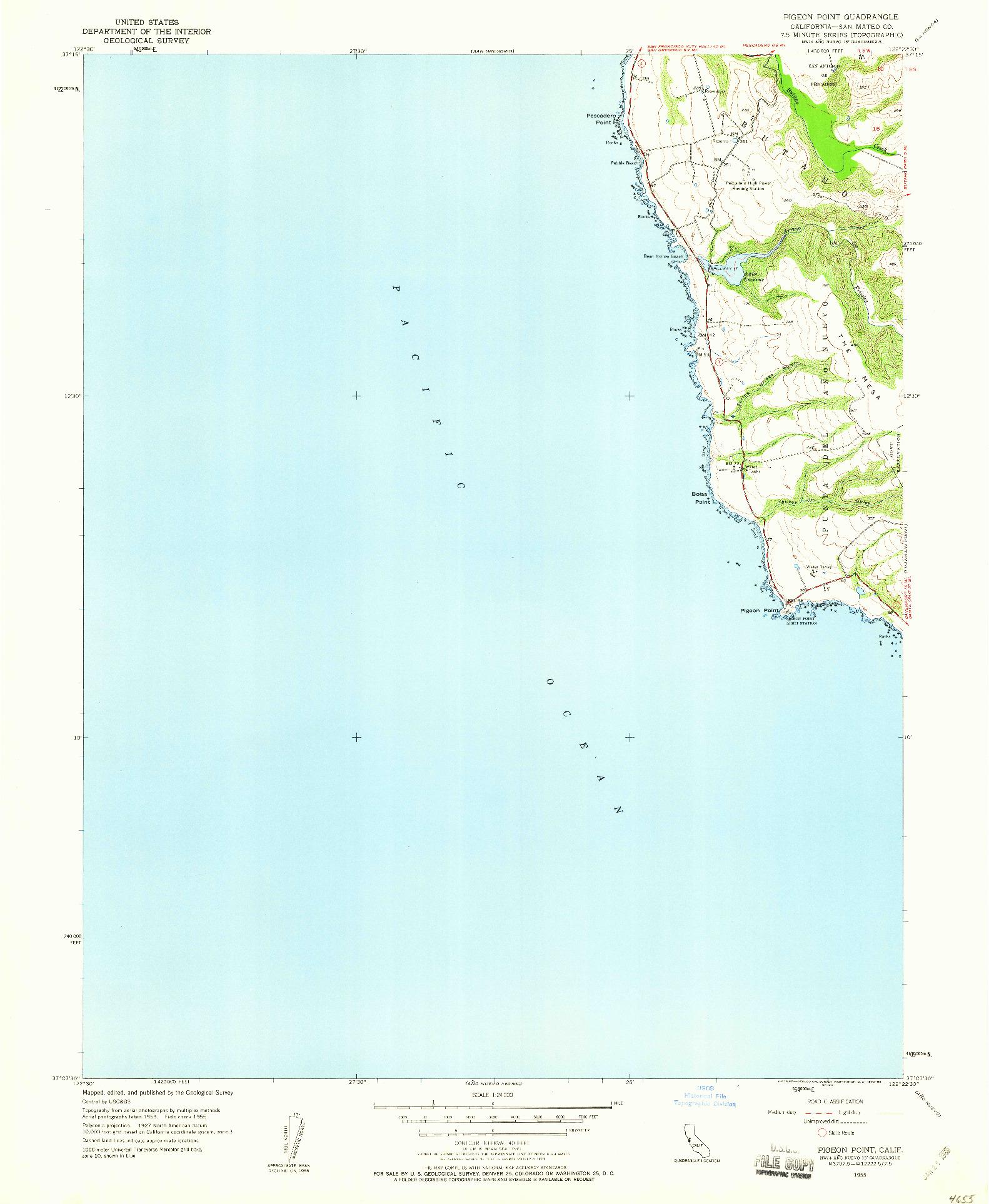 USGS 1:24000-SCALE QUADRANGLE FOR PIGEON POINT, CA 1955