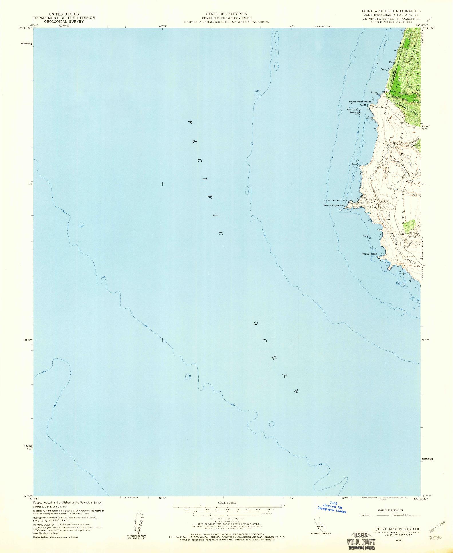 USGS 1:24000-SCALE QUADRANGLE FOR POINT ARGUELLO, CA 1959