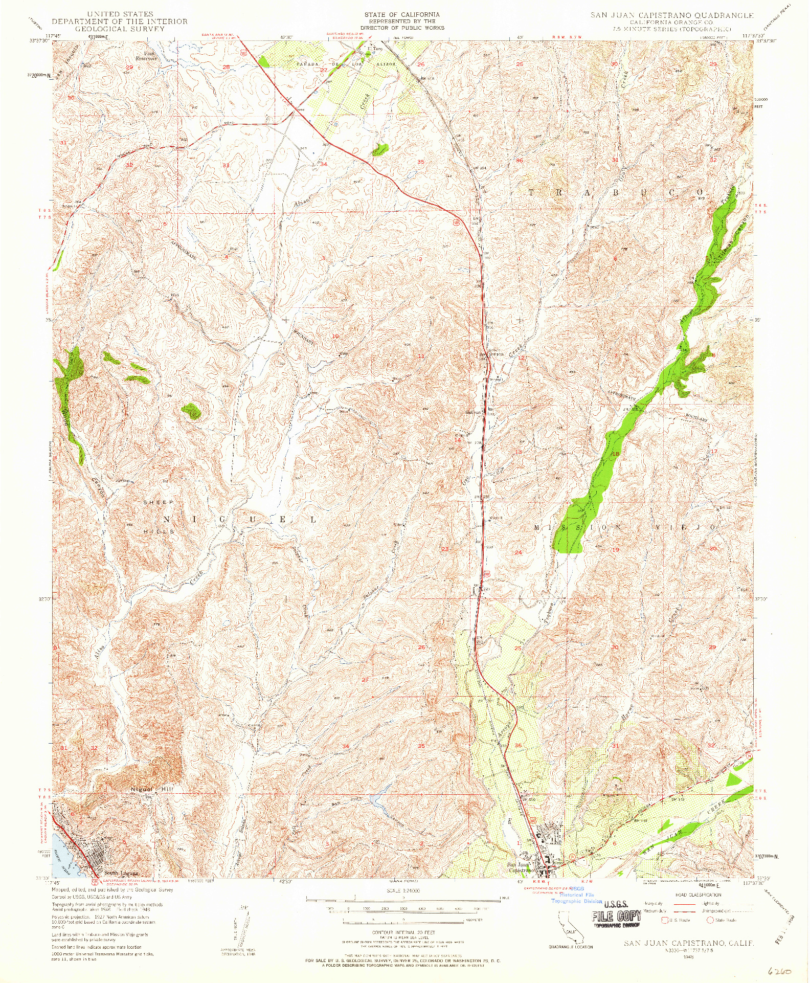 USGS 1:24000-SCALE QUADRANGLE FOR SAN JUAN CAPISTRANO, CA 1948