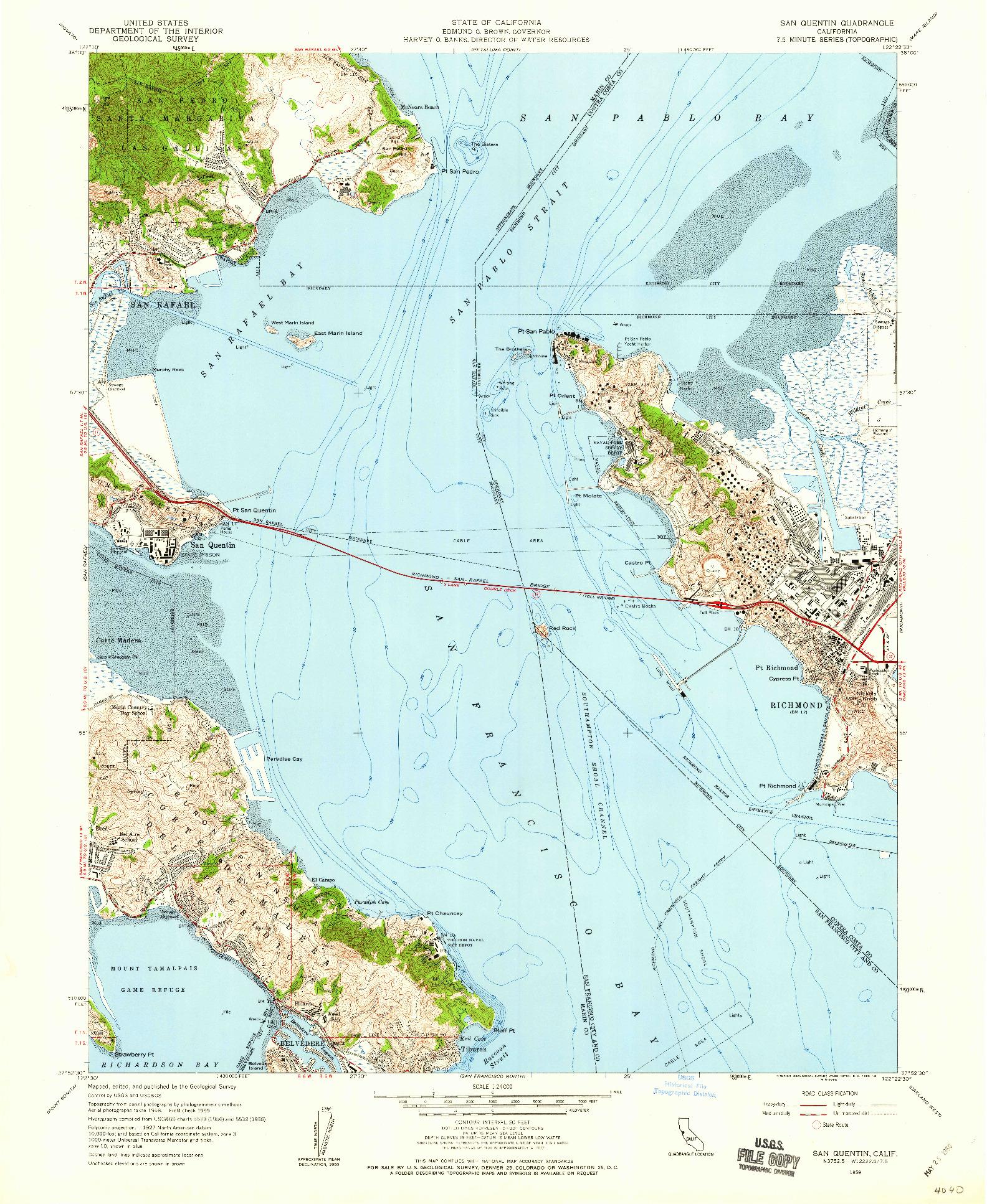 USGS 1:24000-SCALE QUADRANGLE FOR SAN QUENTIN, CA 1959