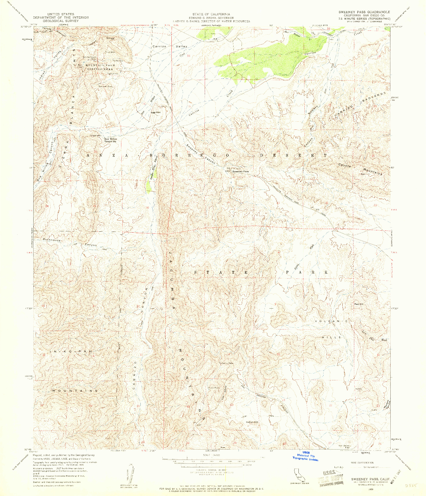 USGS 1:24000-SCALE QUADRANGLE FOR SWEENEY PASS, CA 1959