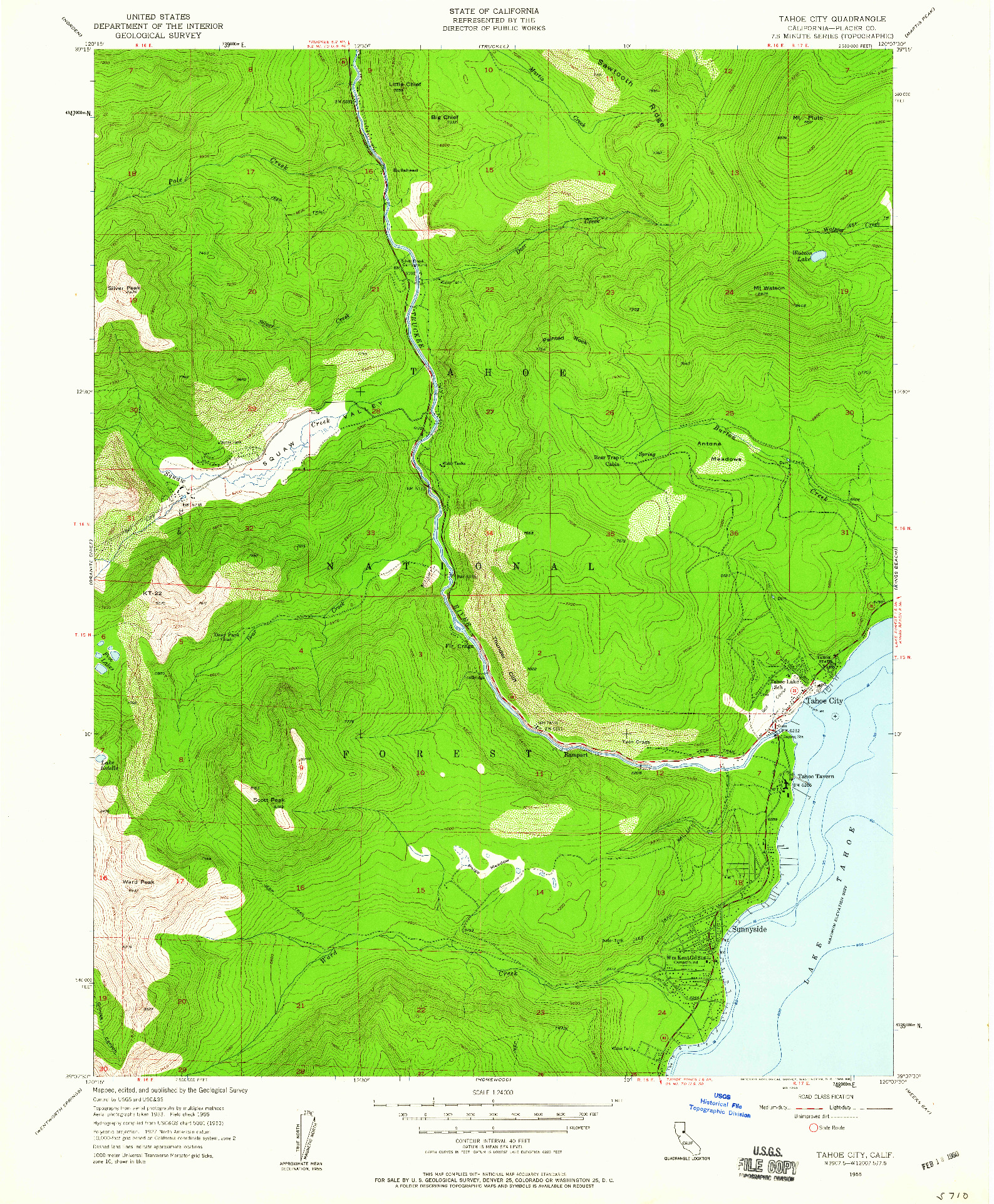 USGS 1:24000-SCALE QUADRANGLE FOR TAHOE CITY, CA 1955