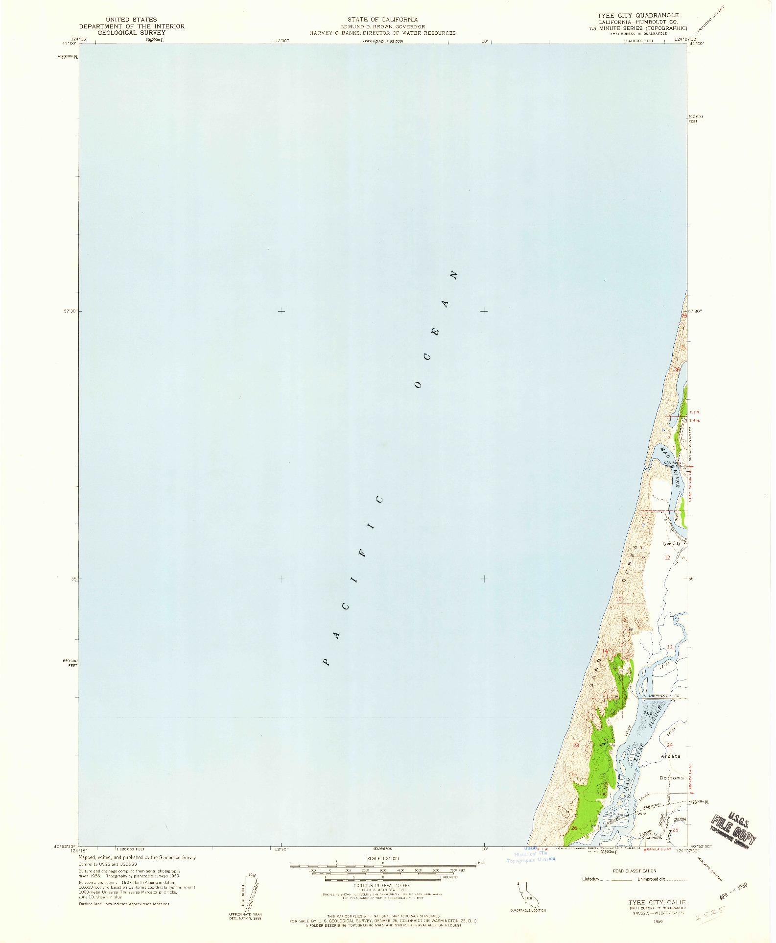 USGS 1:24000-SCALE QUADRANGLE FOR TYEE CITY, CA 1959