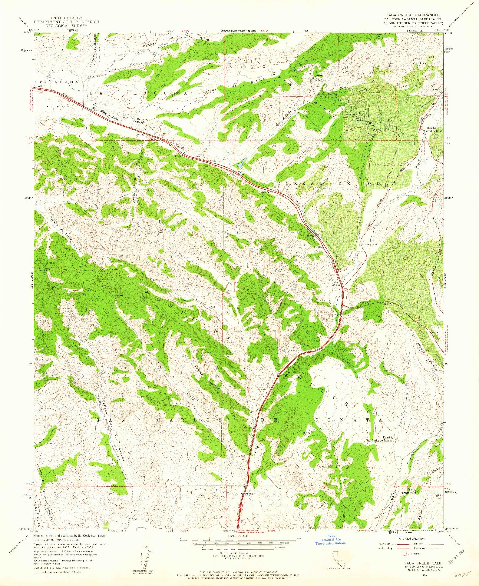 USGS 1:24000-SCALE QUADRANGLE FOR ZACA CREEK, CA 1959