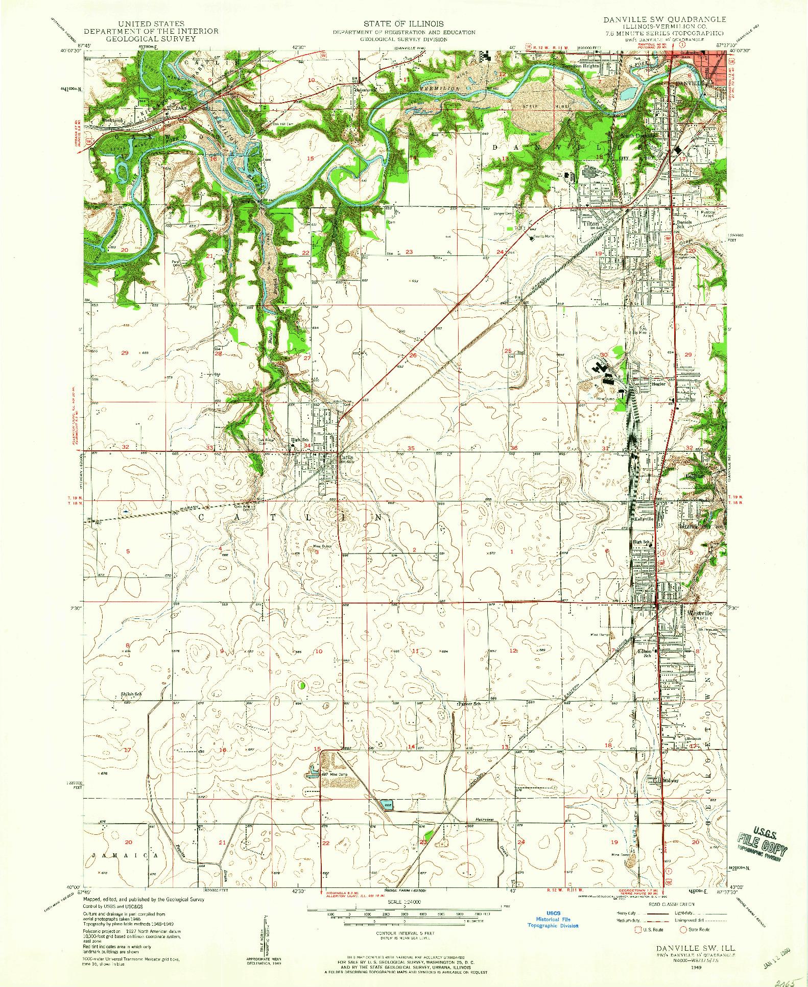 USGS 1:24000-SCALE QUADRANGLE FOR DANVILLE SW, IL 1949