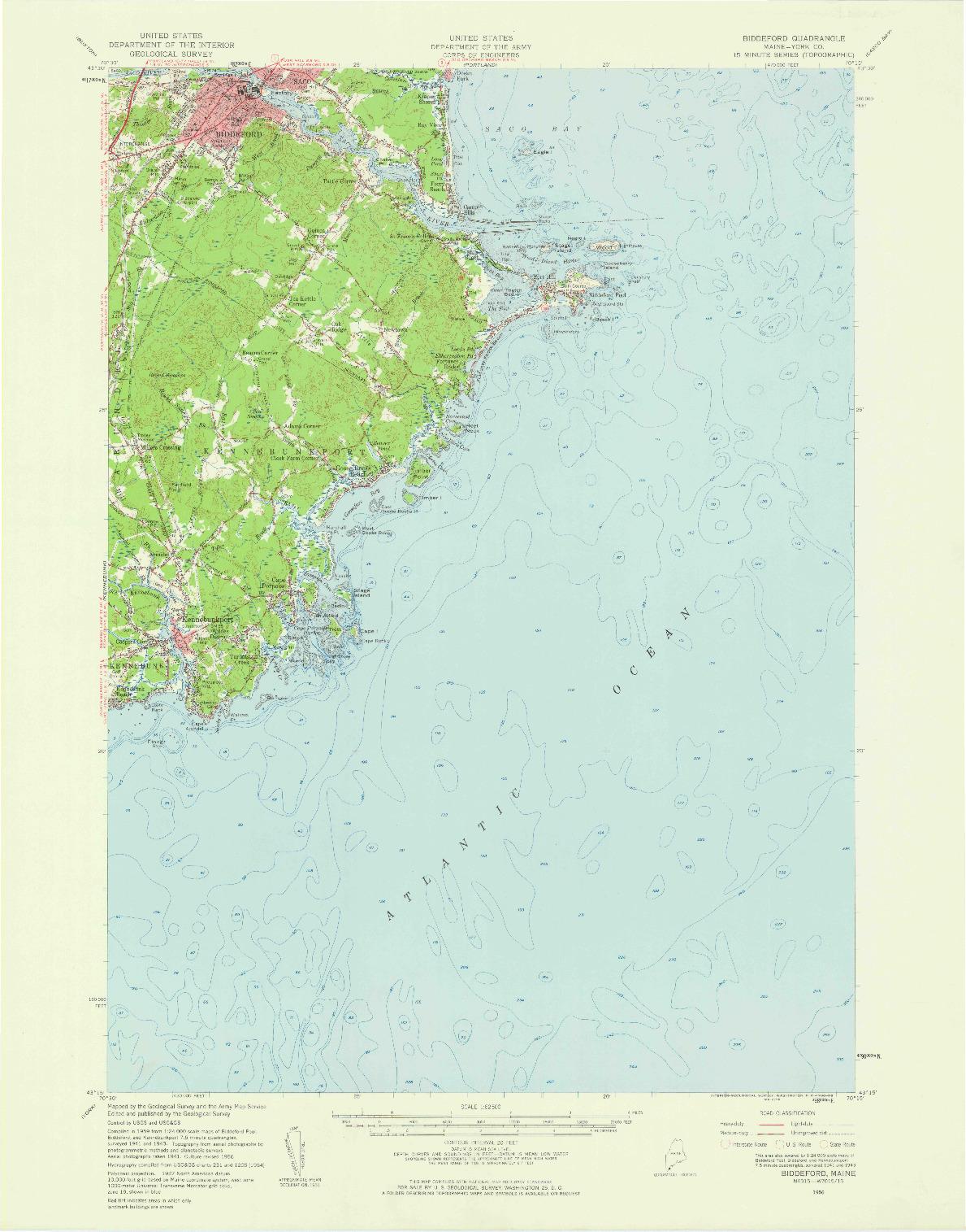 USGS 1:62500-SCALE QUADRANGLE FOR BIDDEFORD, ME 1956