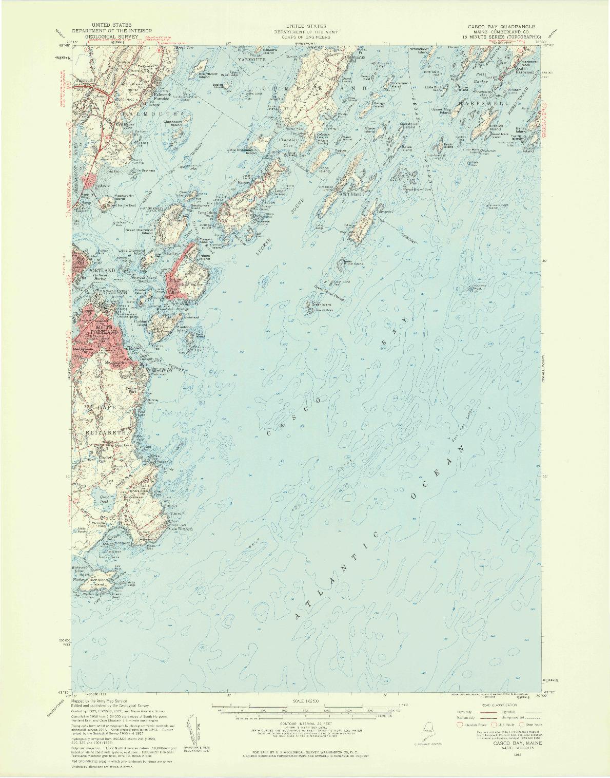 USGS 1:62500-SCALE QUADRANGLE FOR CASCO BAY, ME 1957