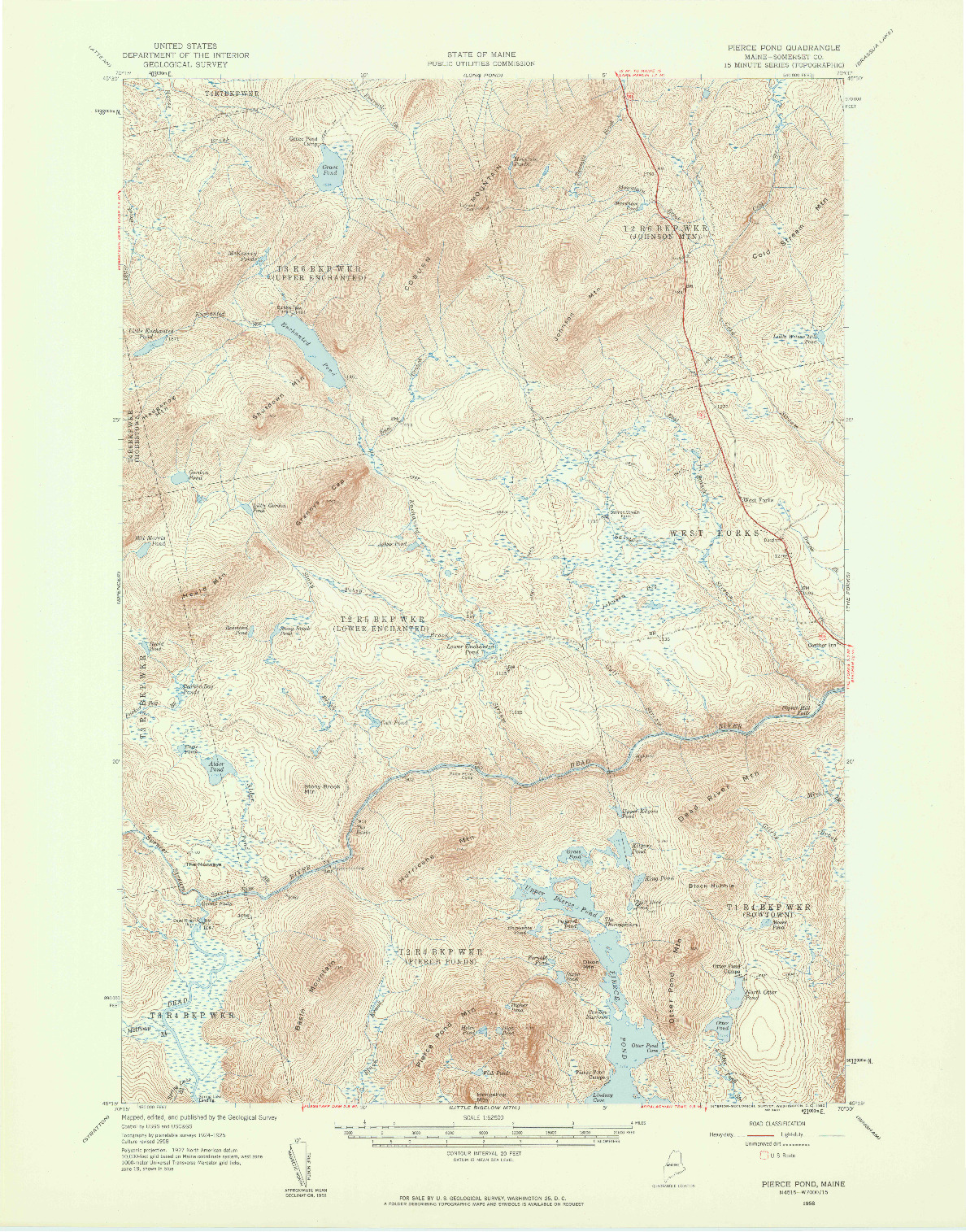 USGS 1:62500-SCALE QUADRANGLE FOR PIERCE POND, ME 1958