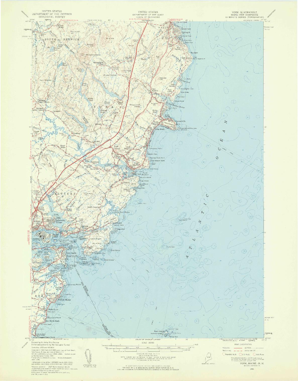 USGS 1:62500-SCALE QUADRANGLE FOR YORK, ME 1956
