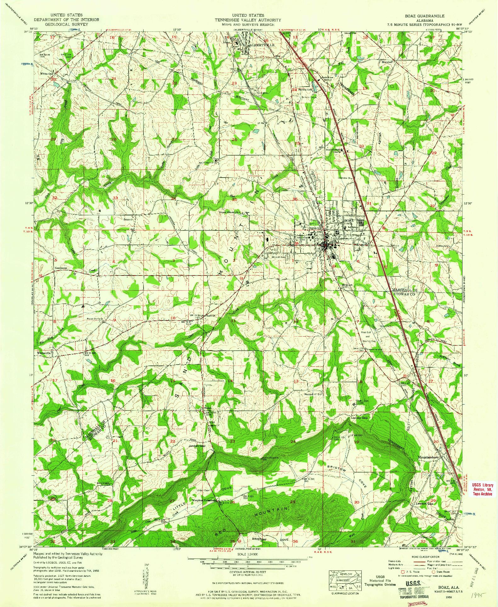 USGS 1:24000-SCALE QUADRANGLE FOR BOAZ, AL 1958