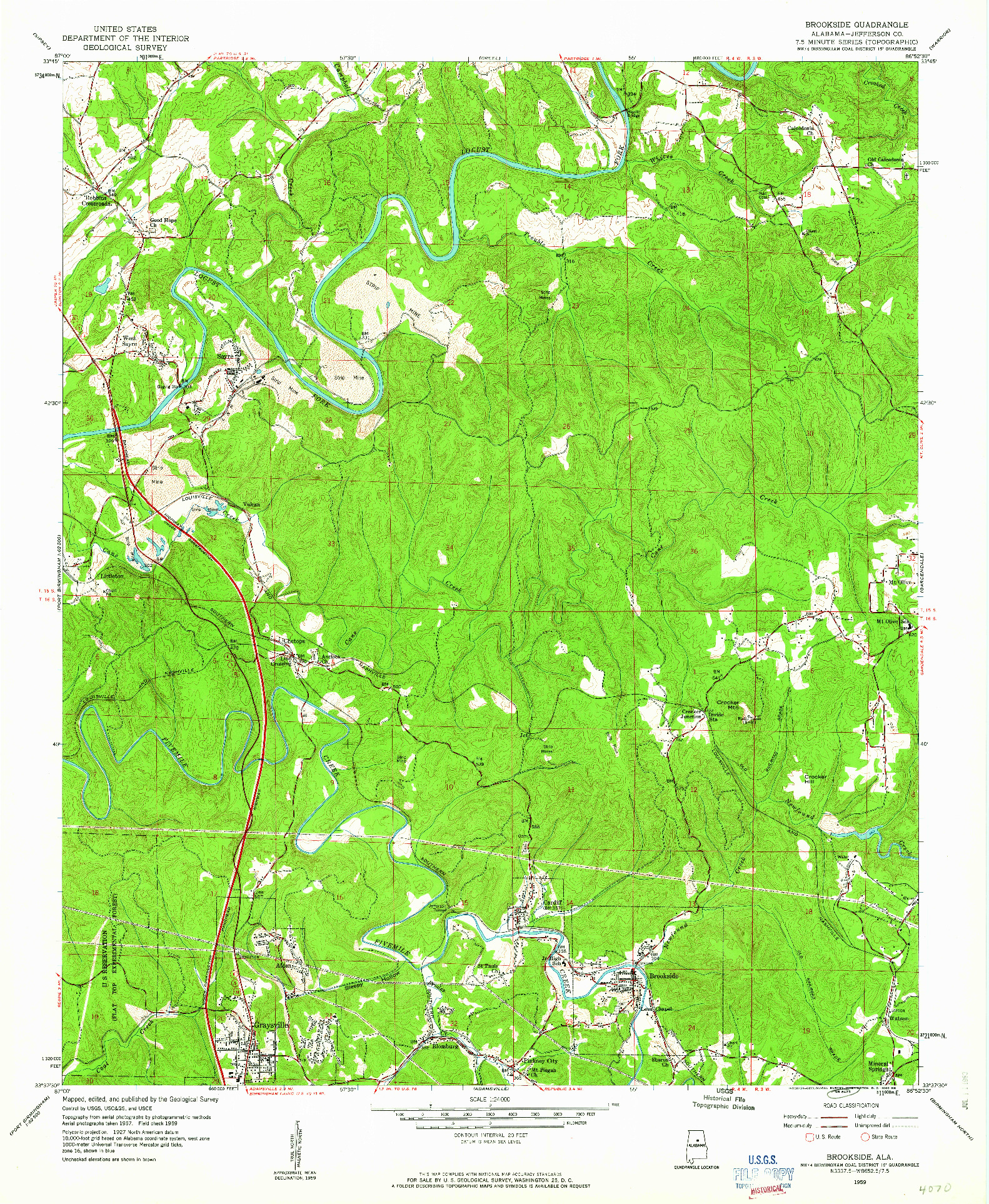 USGS 1:24000-SCALE QUADRANGLE FOR BROOKSIDE, AL 1959