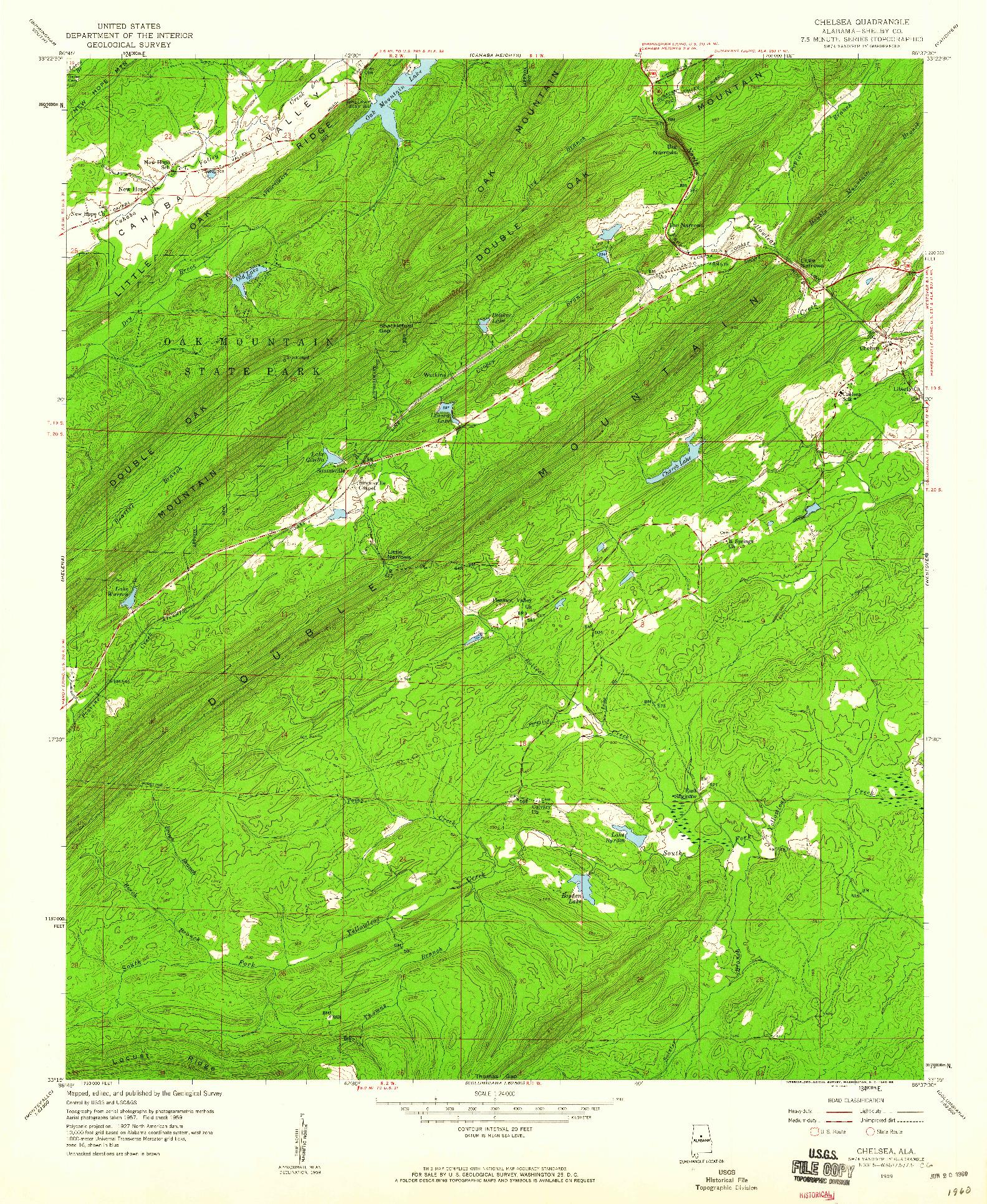 USGS 1:24000-SCALE QUADRANGLE FOR CHELSEA, AL 1959