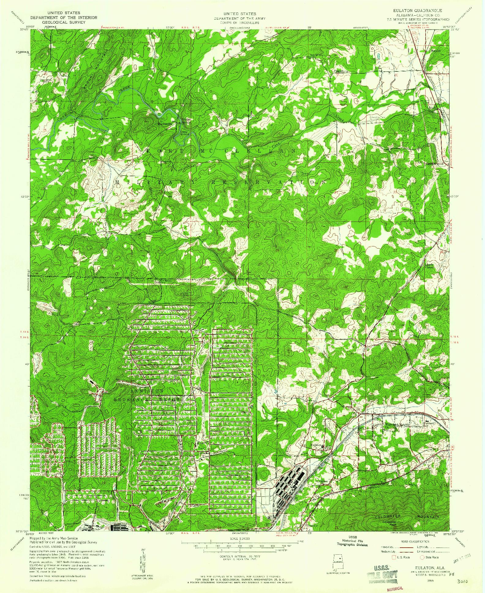 USGS 1:24000-SCALE QUADRANGLE FOR EULATON, AL 1956