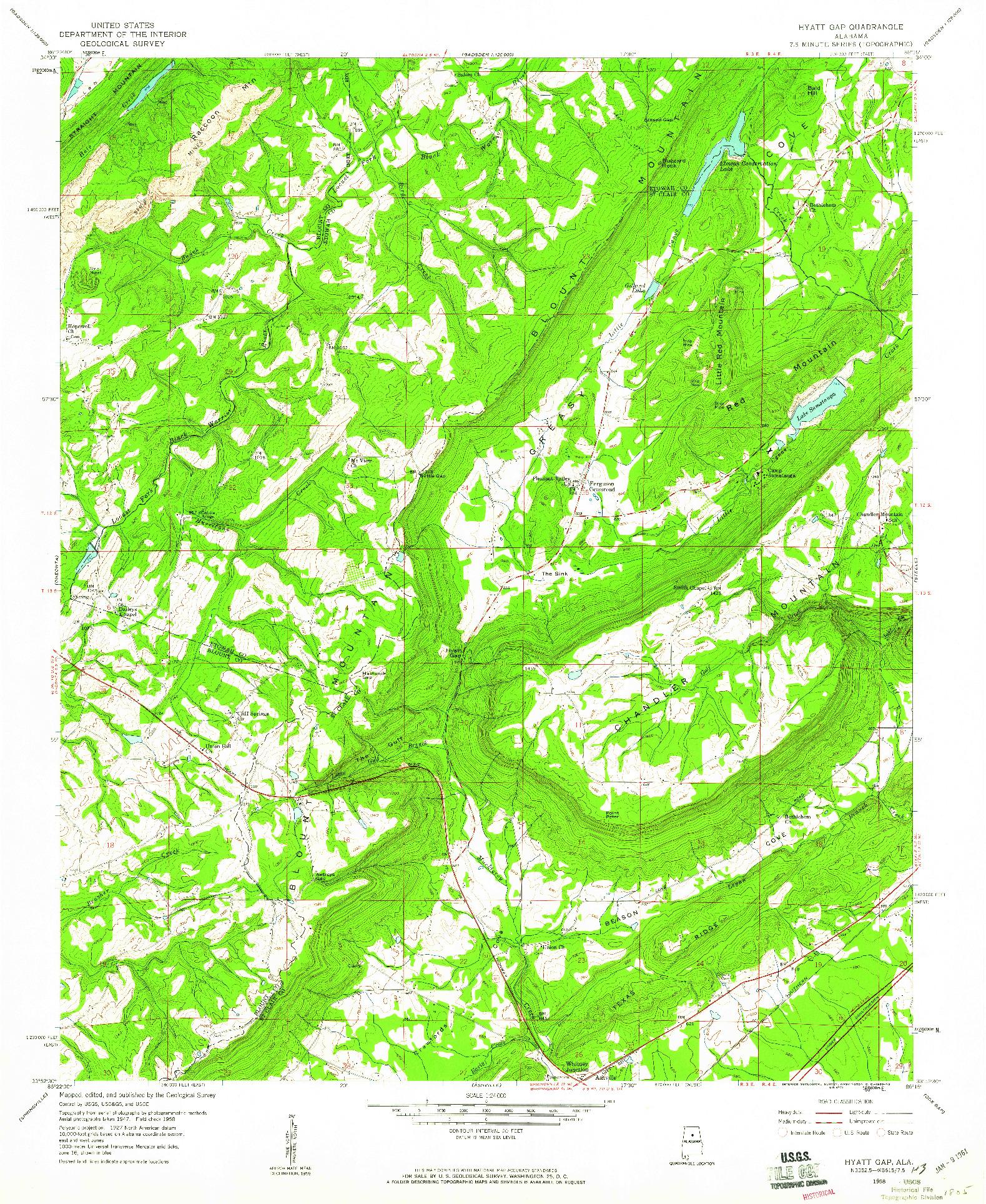 USGS 1:24000-SCALE QUADRANGLE FOR HYATT GAP, AL 1958
