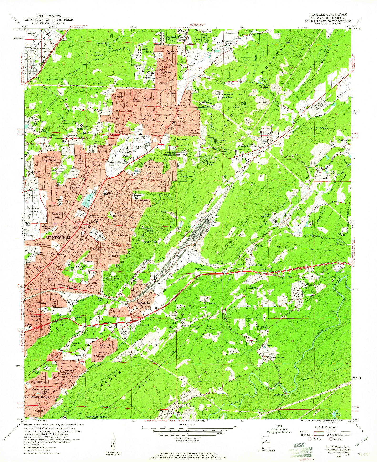 USGS 1:24000-SCALE QUADRANGLE FOR IRONDALE, AL 1959