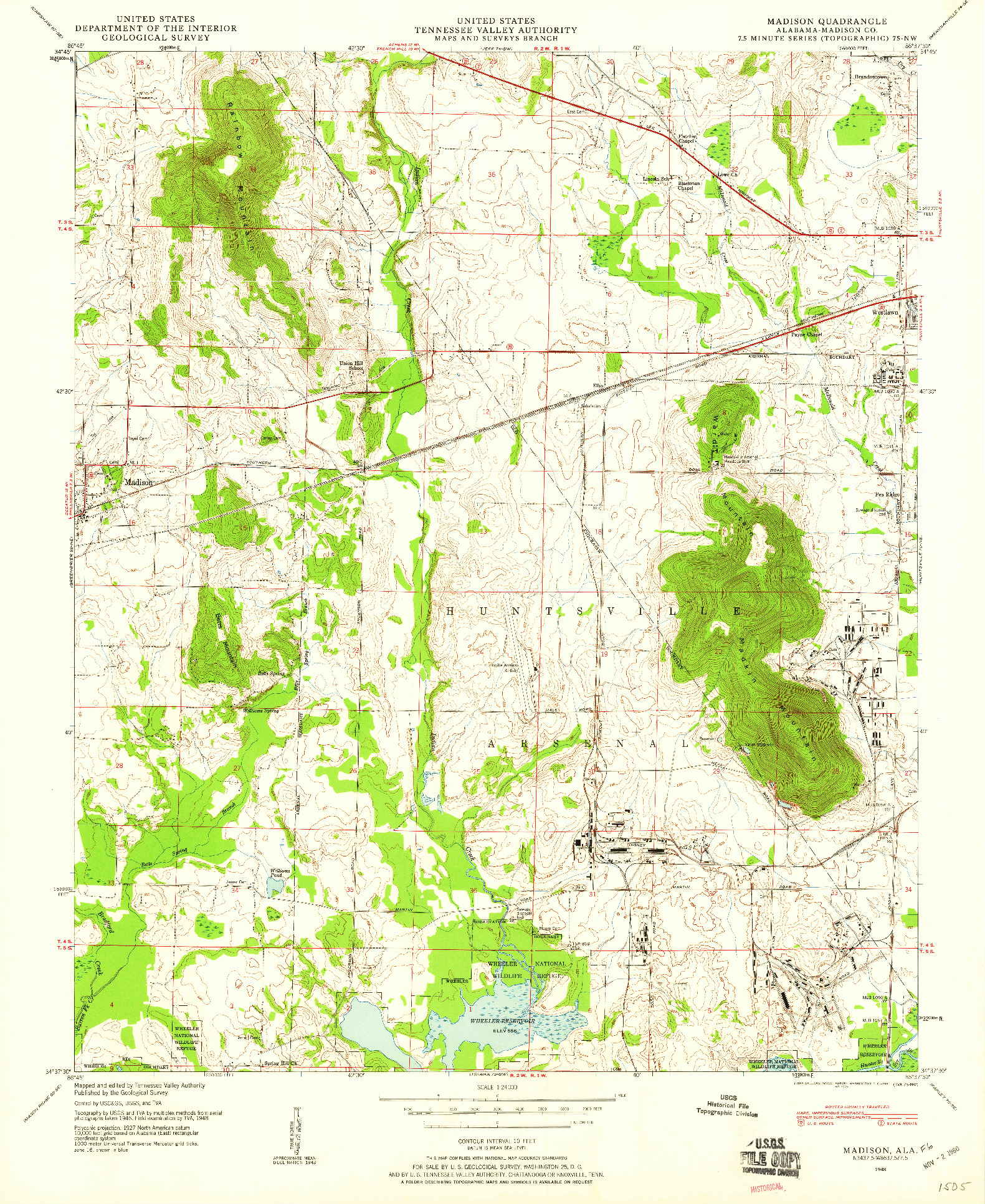 USGS 1:24000-SCALE QUADRANGLE FOR MADISON, AL 1948