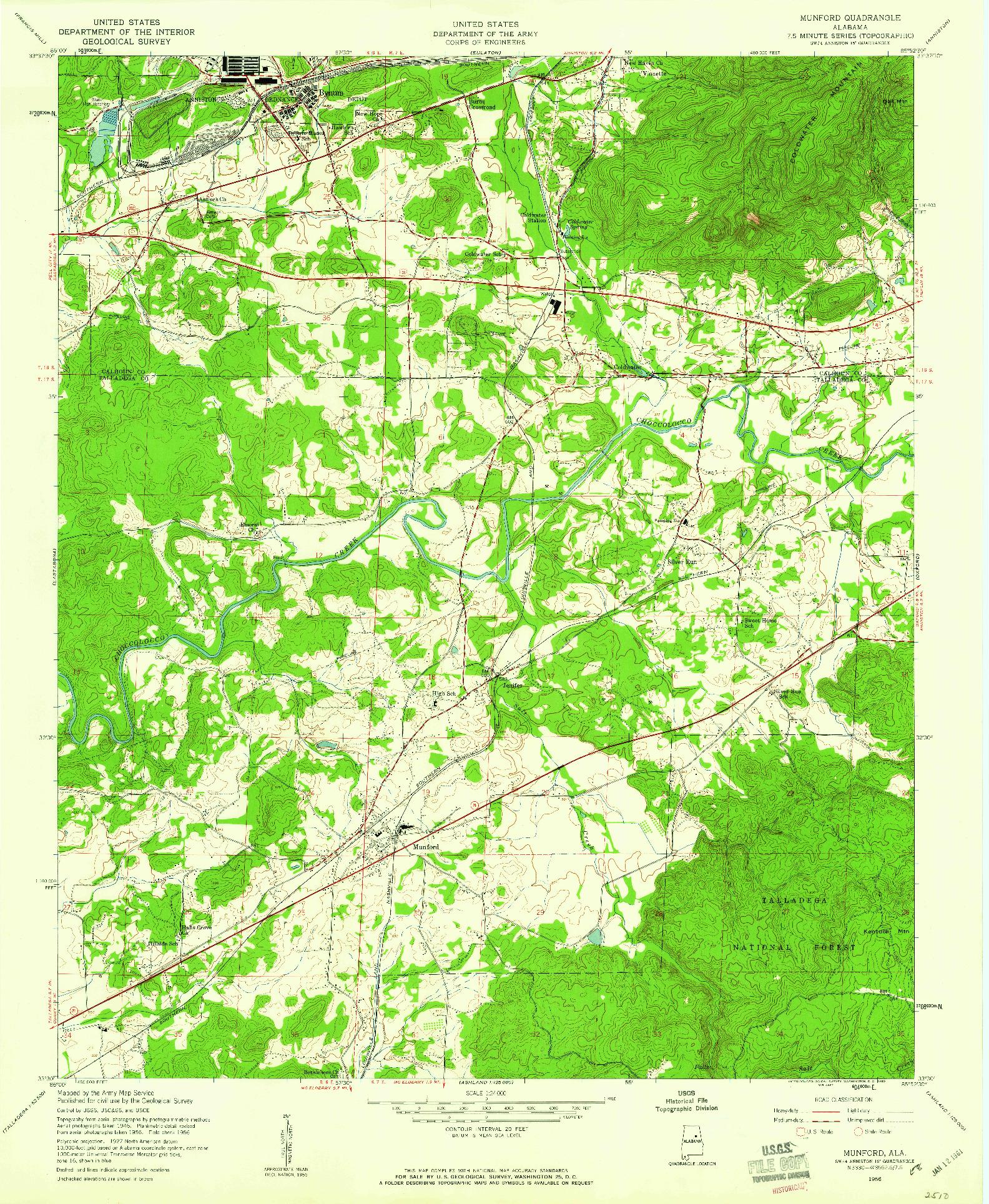 USGS 1:24000-SCALE QUADRANGLE FOR MUNFORD, AL 1956