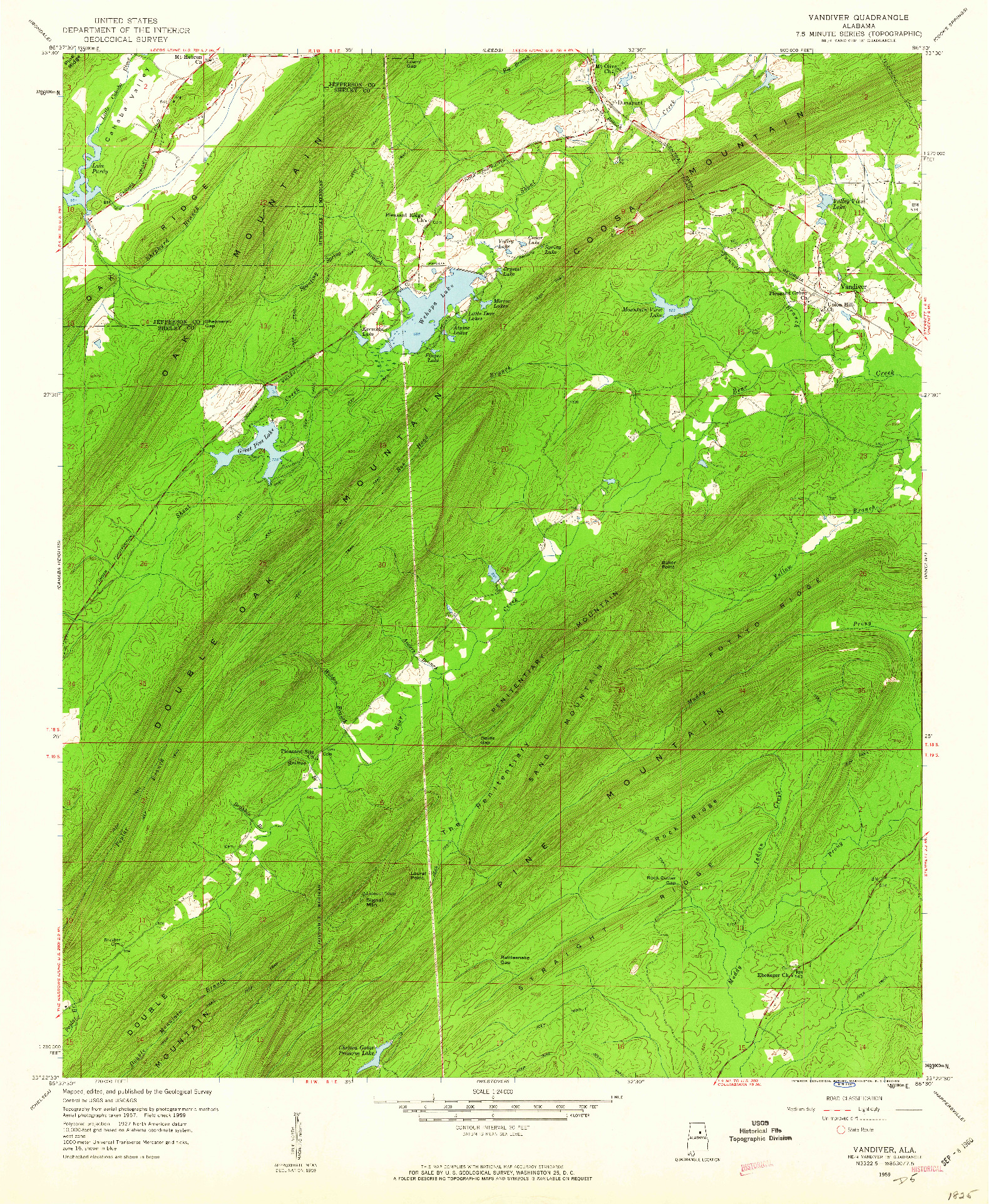 USGS 1:24000-SCALE QUADRANGLE FOR VANDIVER, AL 1959