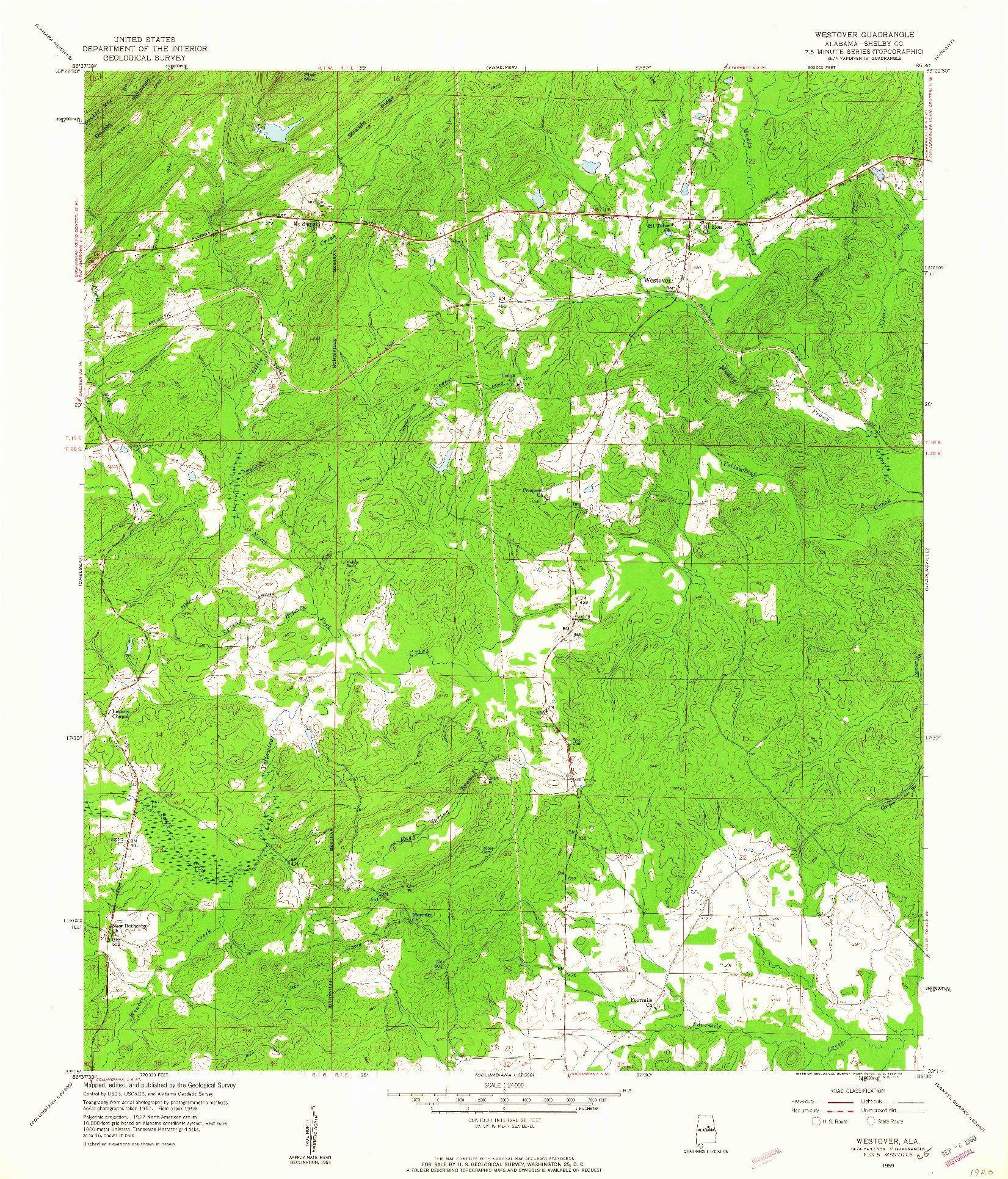 USGS 1:24000-SCALE QUADRANGLE FOR WESTOVER, AL 1959