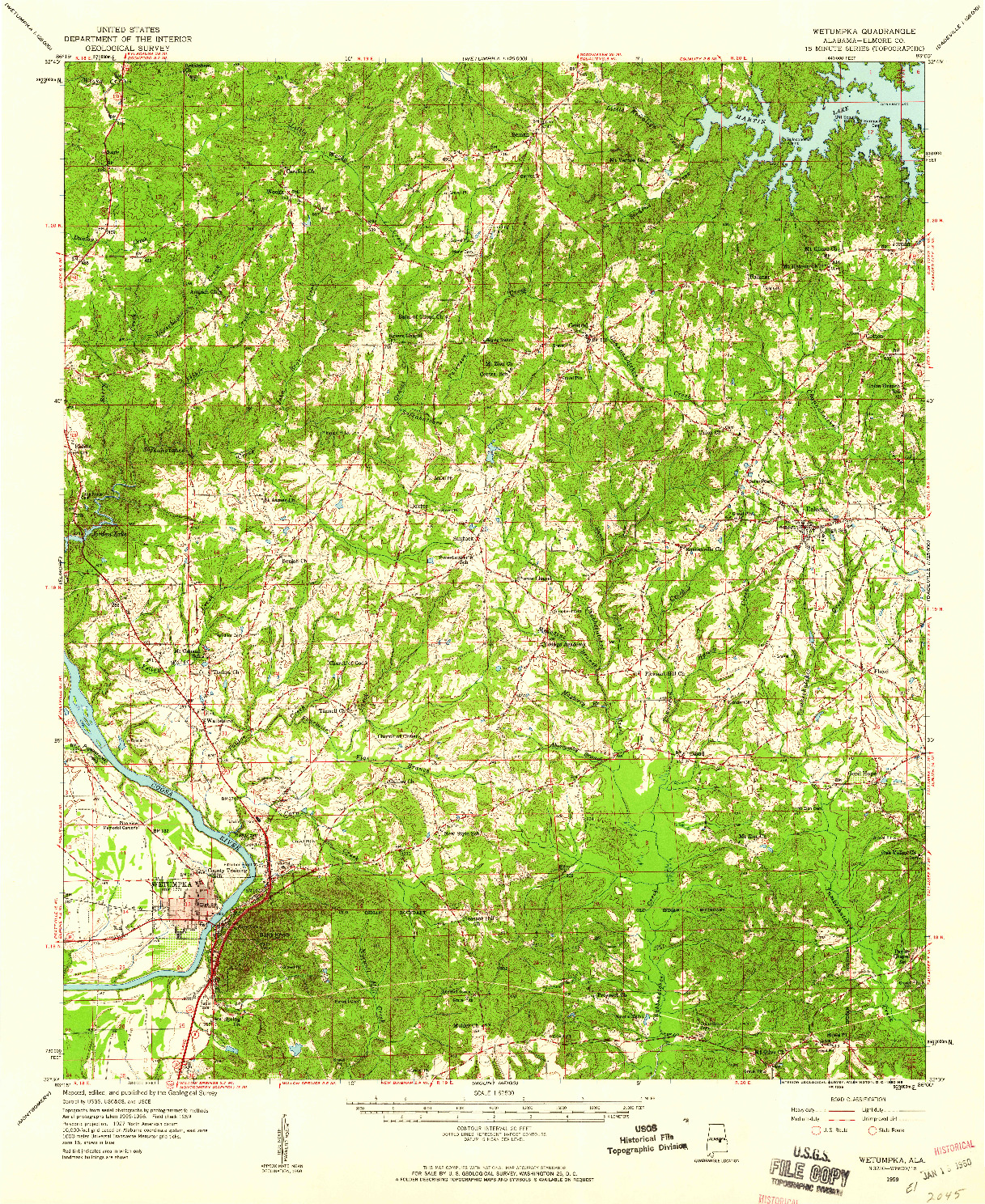 USGS 1:62500-SCALE QUADRANGLE FOR WETUMPKA, AL 1959