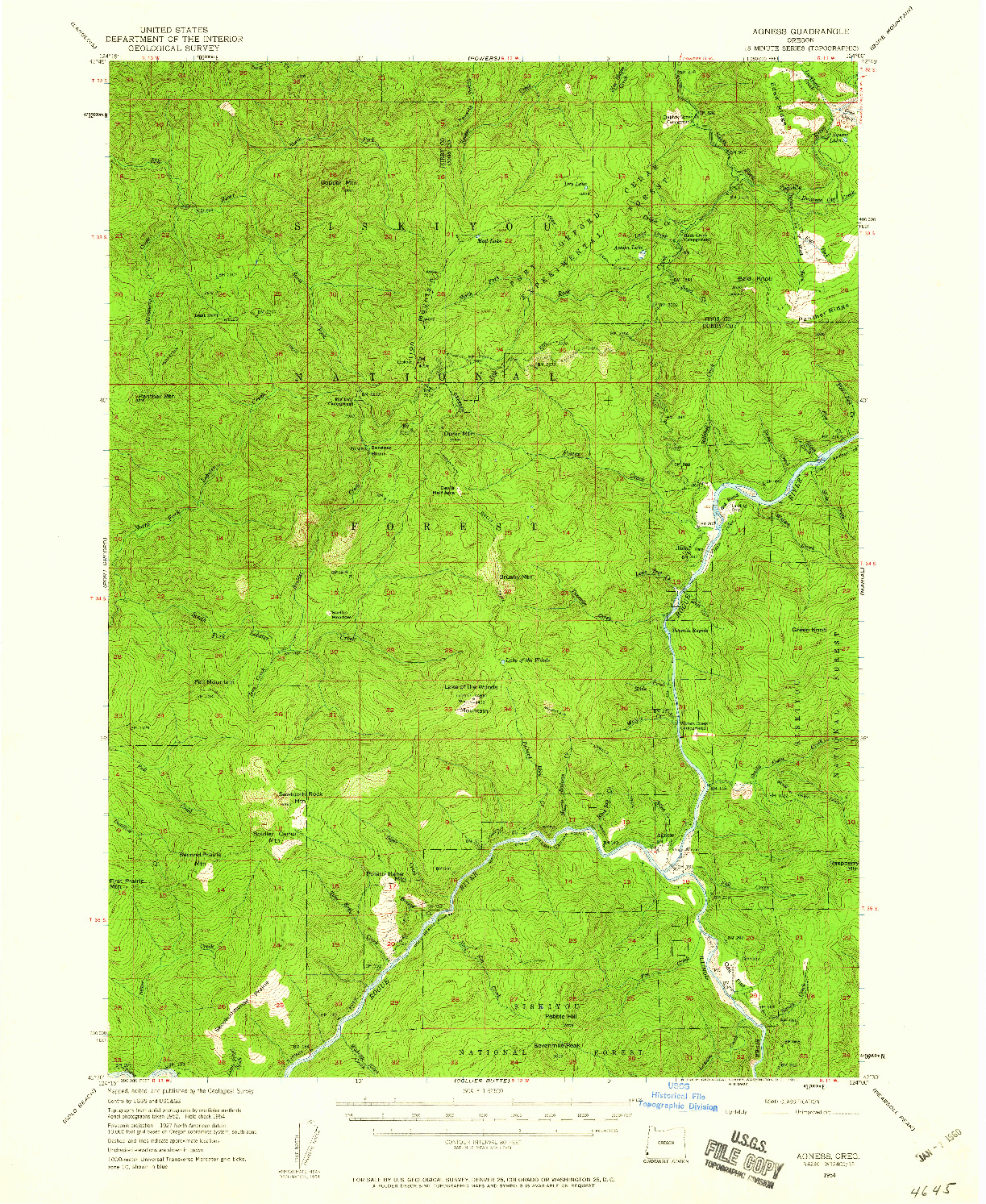 USGS 1:62500-SCALE QUADRANGLE FOR AGNESS, OR 1954