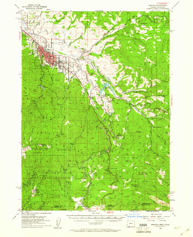 USGS 1:62500-SCALE QUADRANGLE FOR ASHLAND, OR 1954