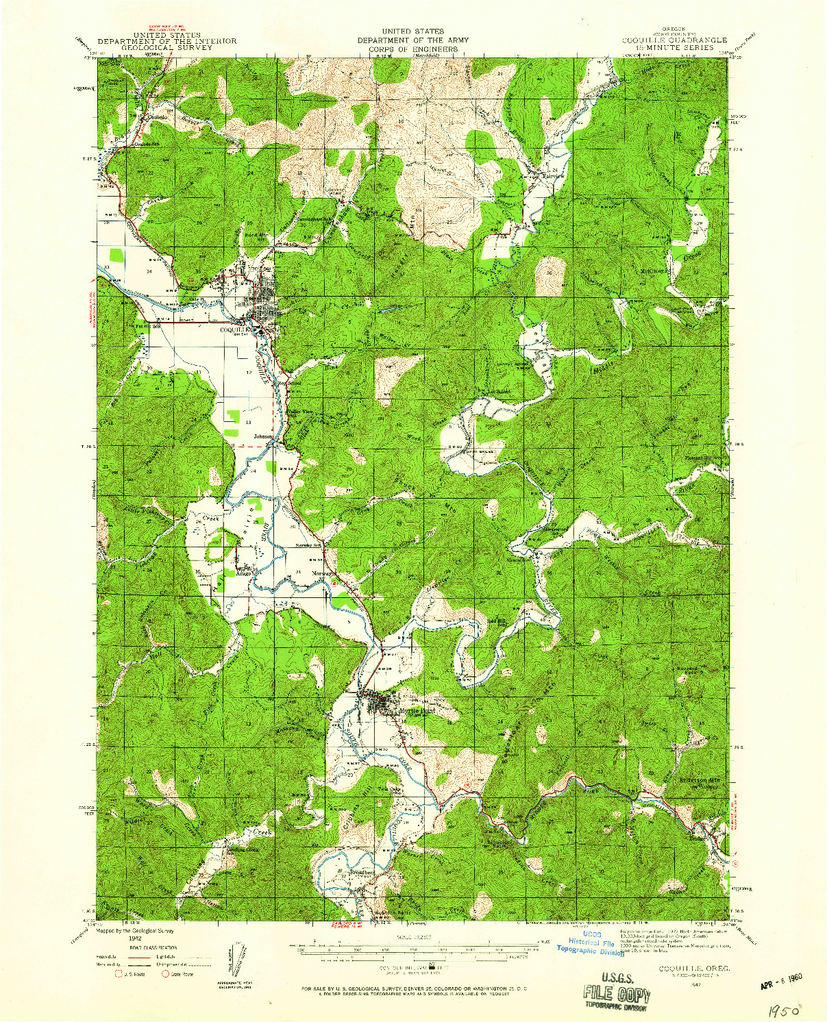USGS 1:62500-SCALE QUADRANGLE FOR COQUILLE, OR 1942