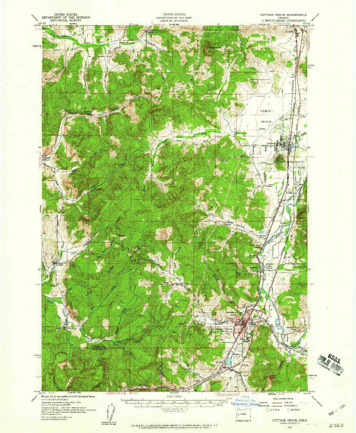 USGS 1:62500-SCALE QUADRANGLE FOR COTTAGE GROVE, OR 1957