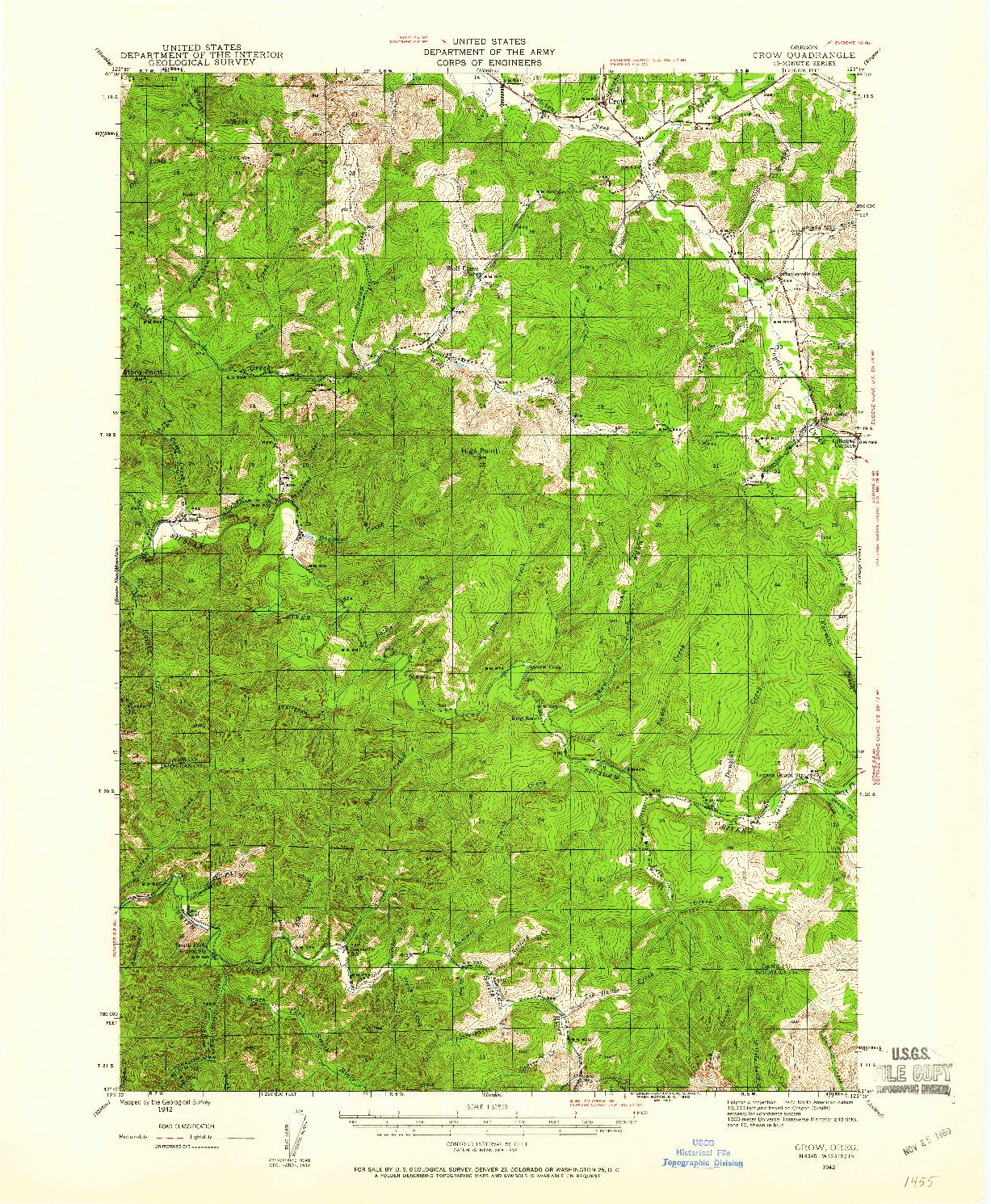 USGS 1:62500-SCALE QUADRANGLE FOR CROW, OR 1942