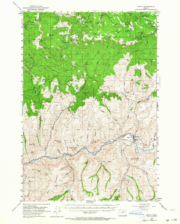 USGS 1:62500-SCALE QUADRANGLE FOR SPRAY, OR 1953