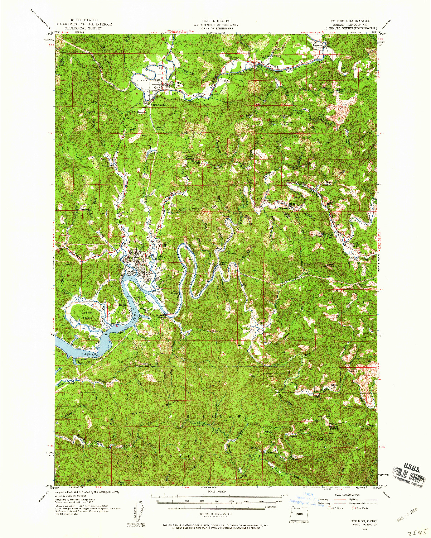 USGS 1:62500-SCALE QUADRANGLE FOR TOLEDO, OR 1957