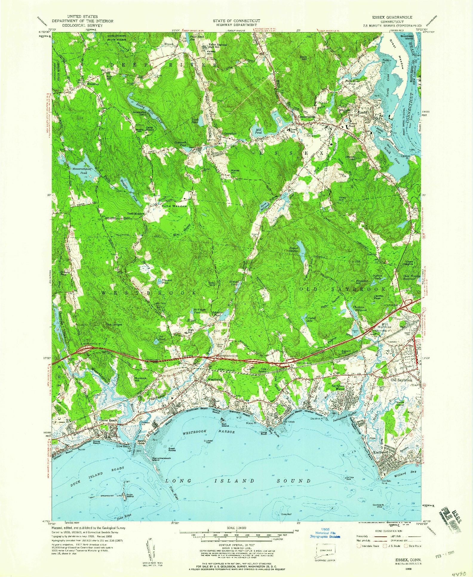 USGS 1:24000-SCALE QUADRANGLE FOR ESSEX, CT 1958