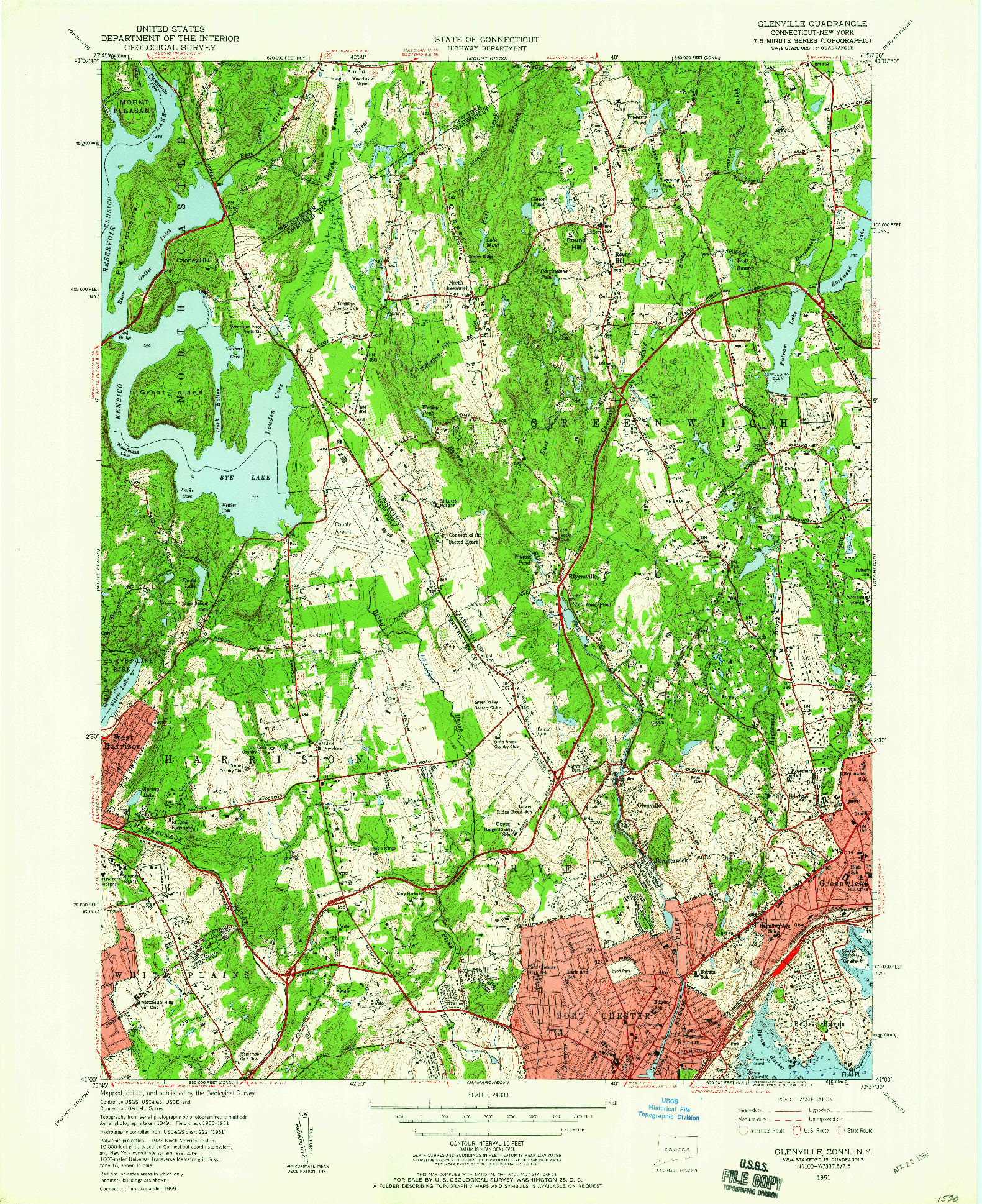 USGS 1:24000-SCALE QUADRANGLE FOR GLENVILLE, CT 1951