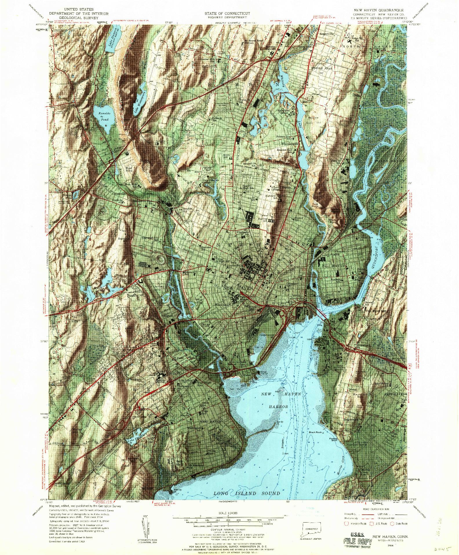 USGS 1:24000-SCALE QUADRANGLE FOR NEW HAVEN, CT 1954