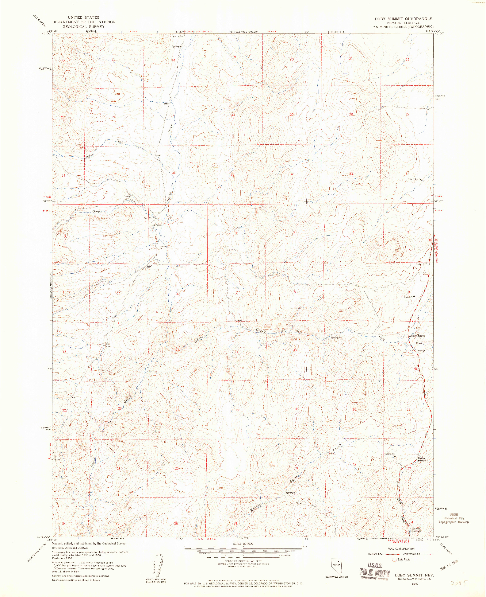 USGS 1:24000-SCALE QUADRANGLE FOR DOBY SUMMIT, NV 1958