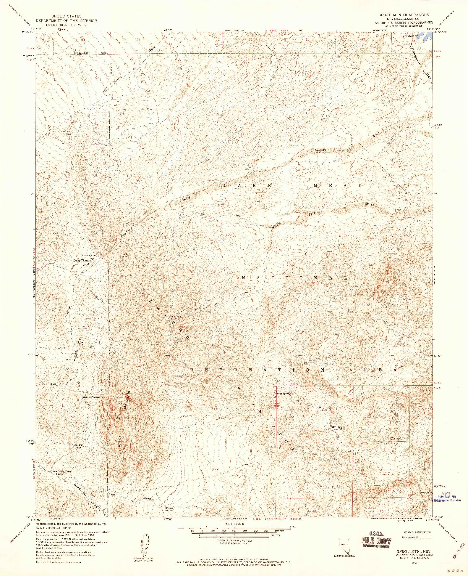 USGS 1:24000-SCALE QUADRANGLE FOR SPIRIT MTN, NV 1959