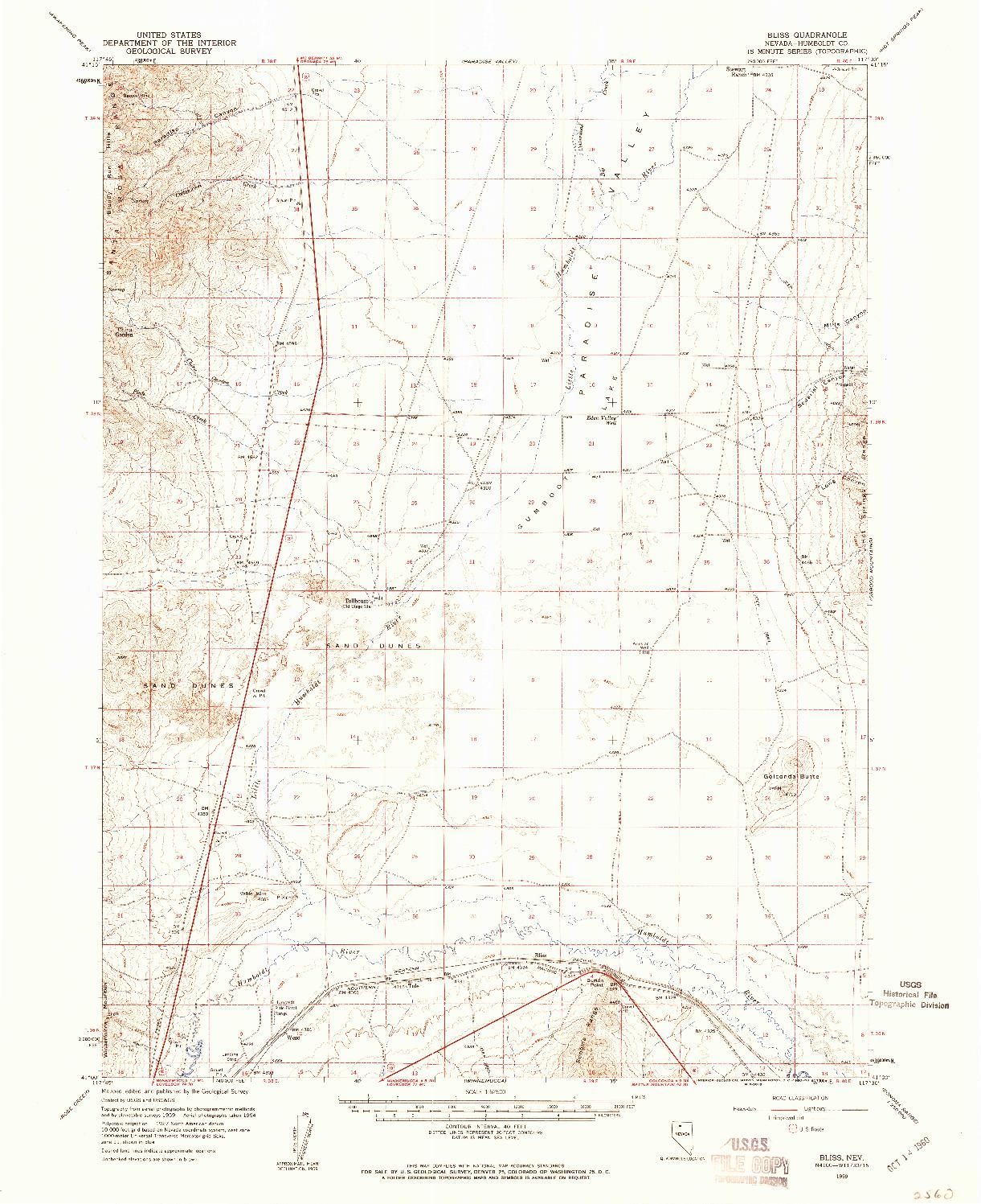 USGS 1:62500-SCALE QUADRANGLE FOR BLISS, NV 1959