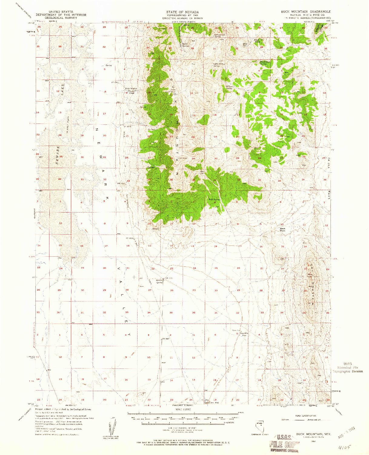 USGS 1:62500-SCALE QUADRANGLE FOR BUCK MOUNTAIN, NV 1957
