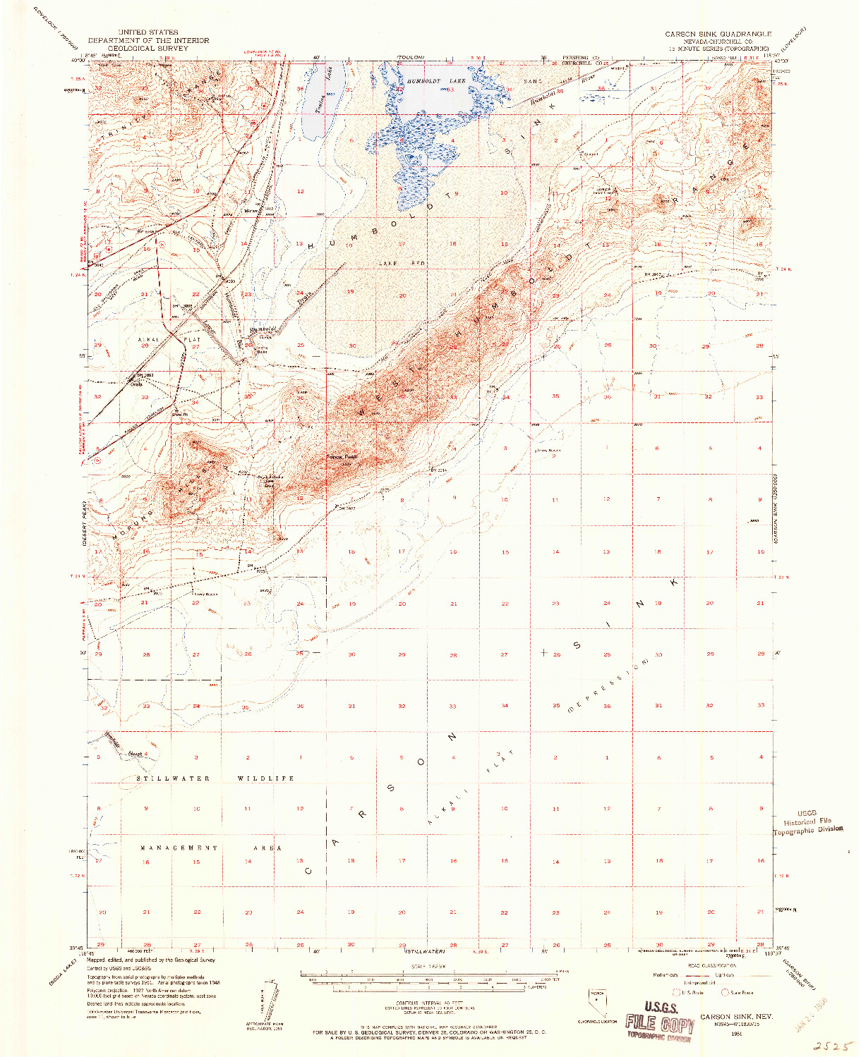 USGS 1:62500-SCALE QUADRANGLE FOR CARSON SINK, NV 1951