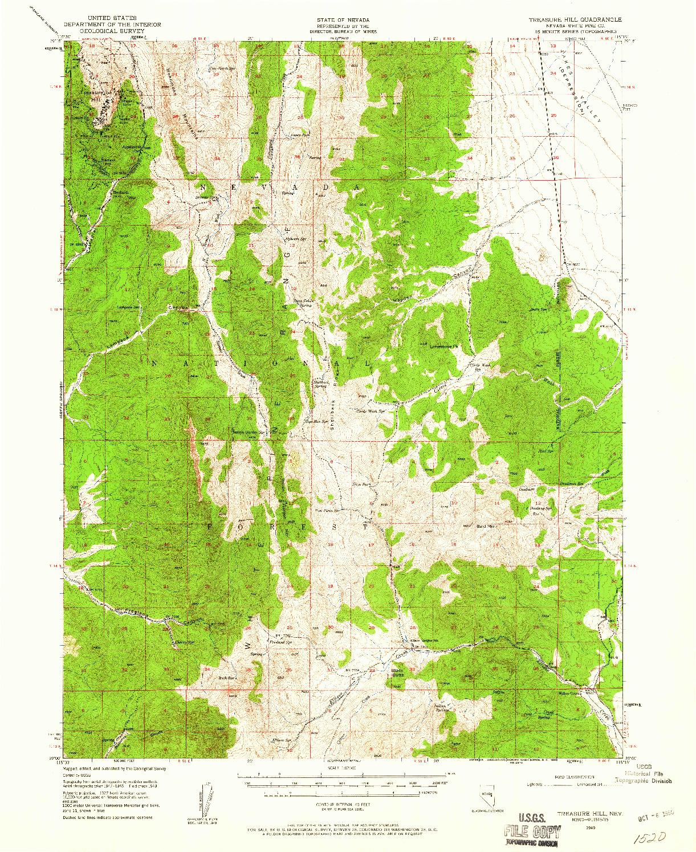 USGS 1:62500-SCALE QUADRANGLE FOR TREASURE HILL, NV 1949